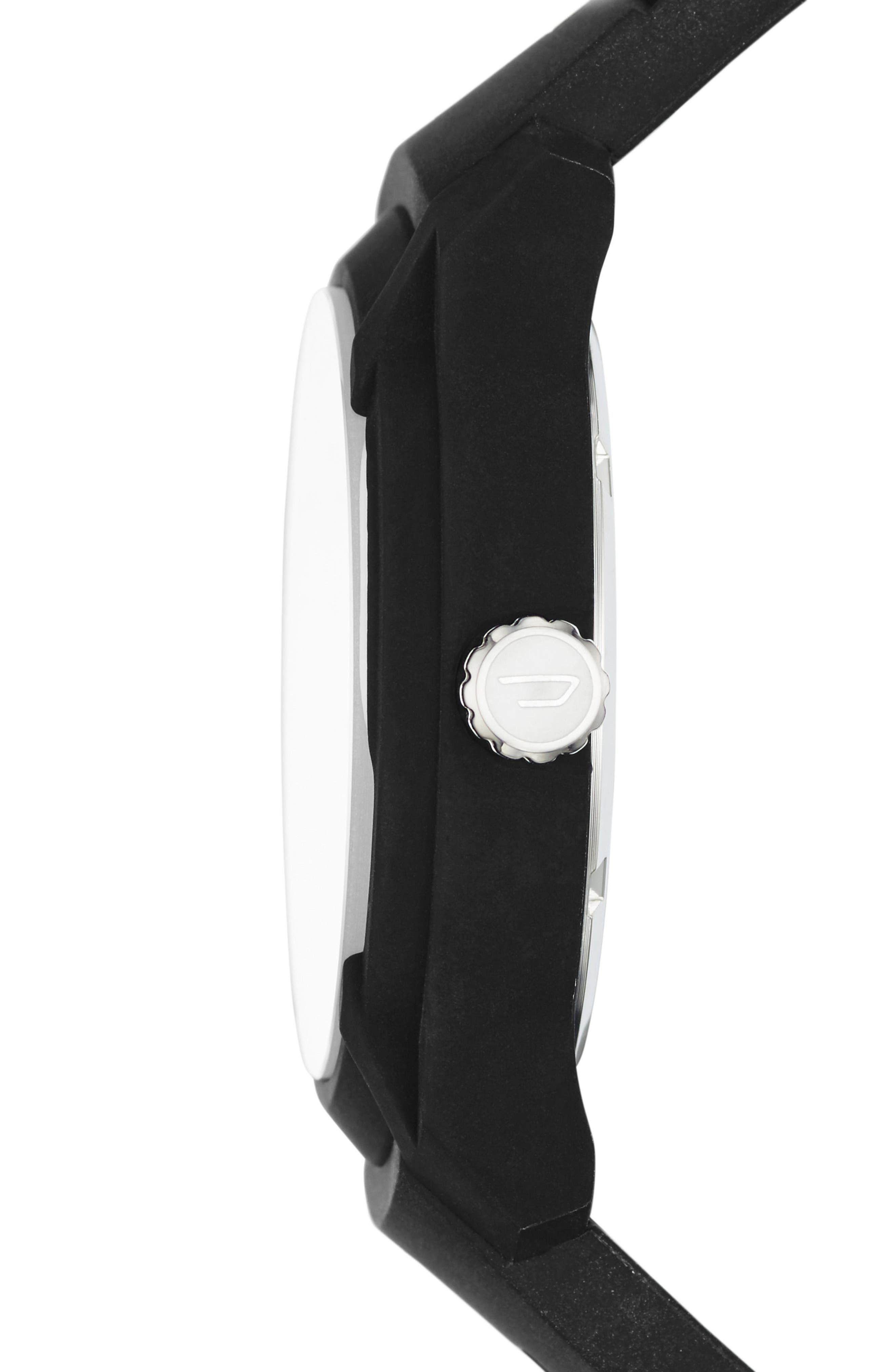 Rasp Silicone Strap Watch, 45mm,                             Alternate thumbnail 2, color,                             Black/ Black
