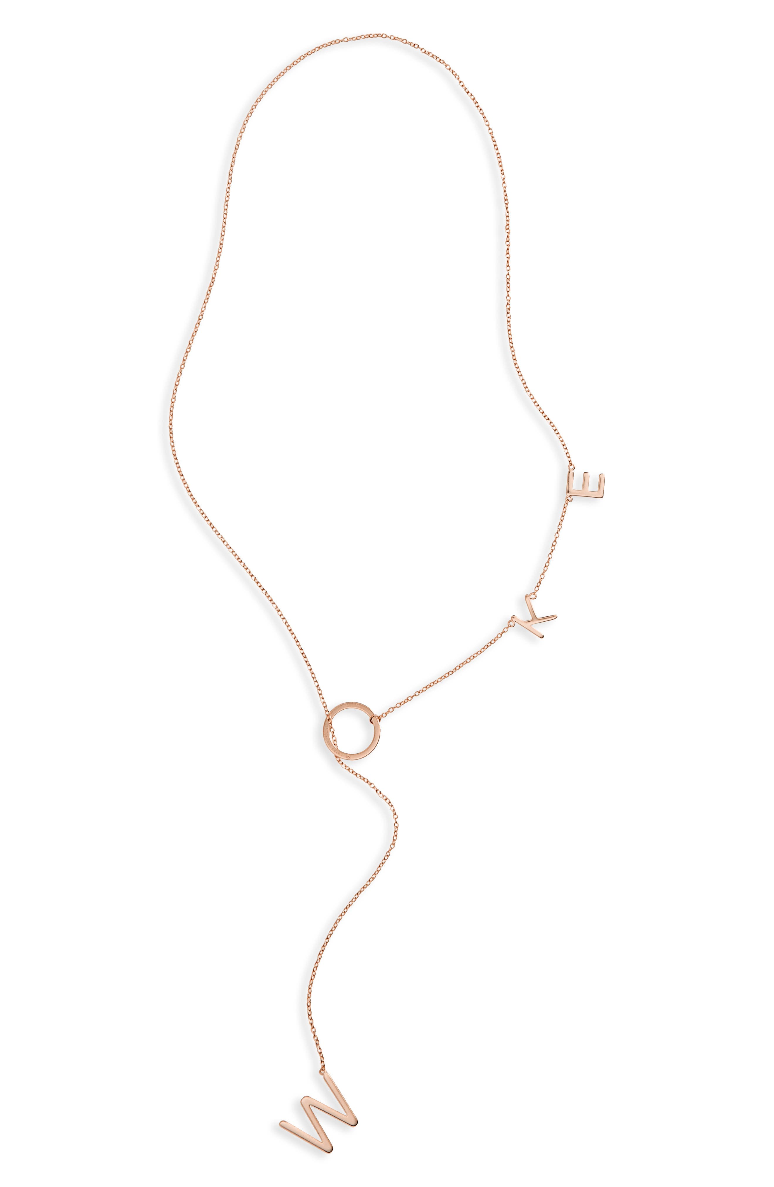 Woke Lariat Necklace,                         Main,                         color, Pink/ Gold