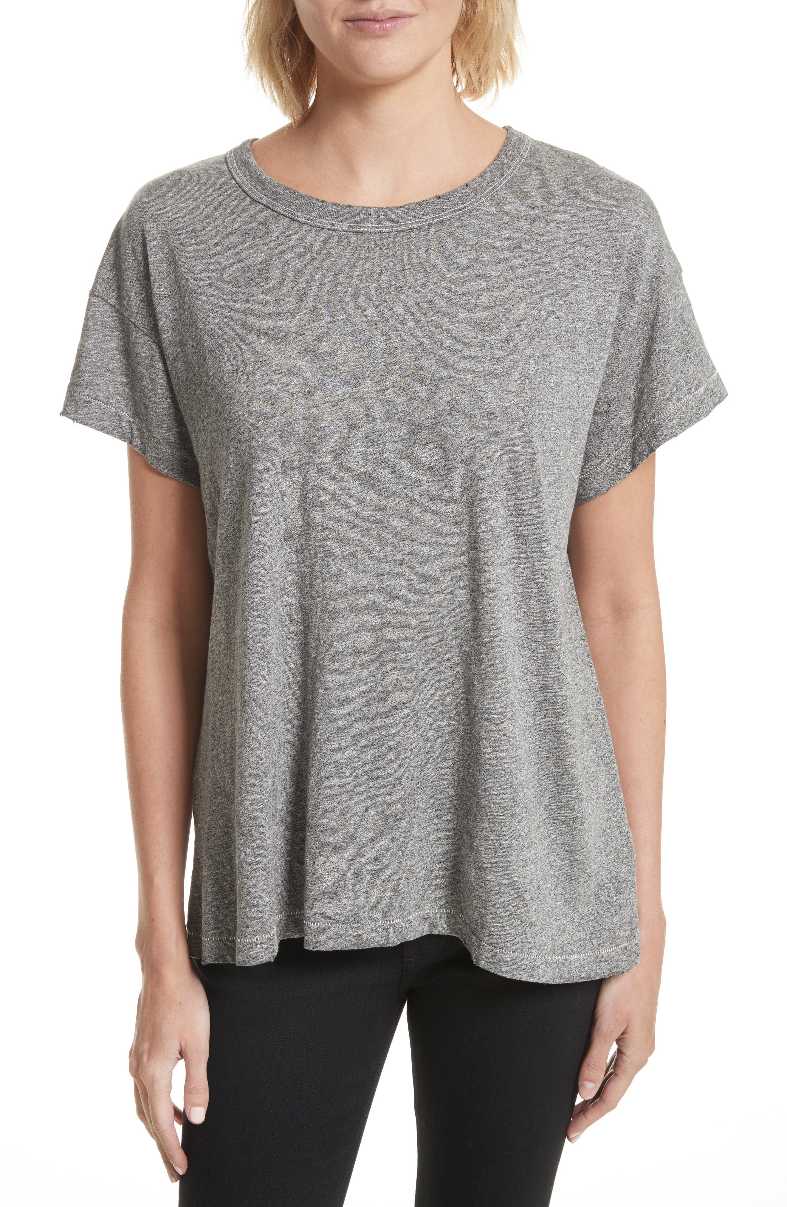 The Boxy Crew Tee,                         Main,                         color, Heather Grey