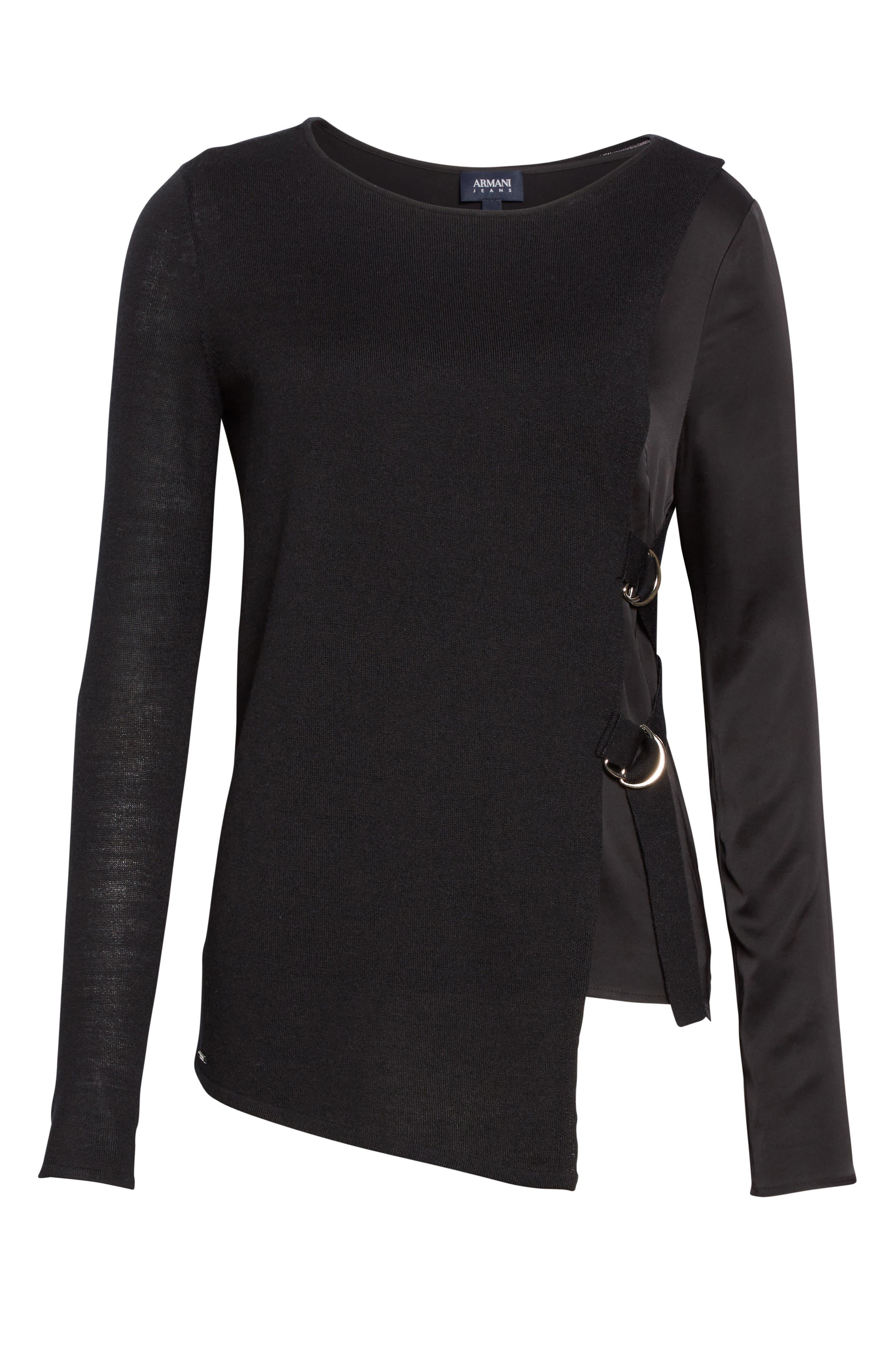 Armani Jeans D-Ring Wool Blend Sweater,                             Alternate thumbnail 6, color,                             Black
