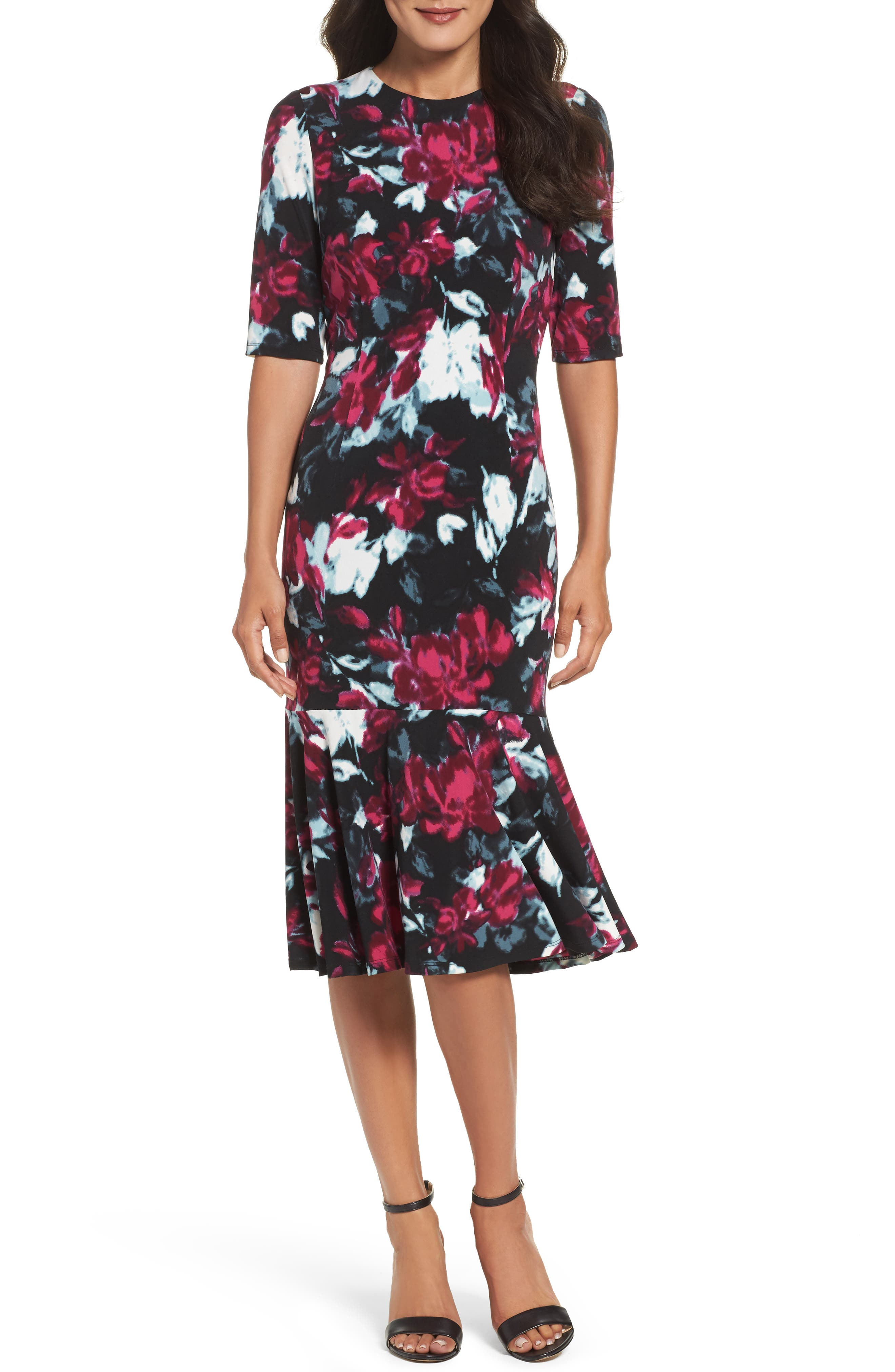Maggy London Print Midi Dress