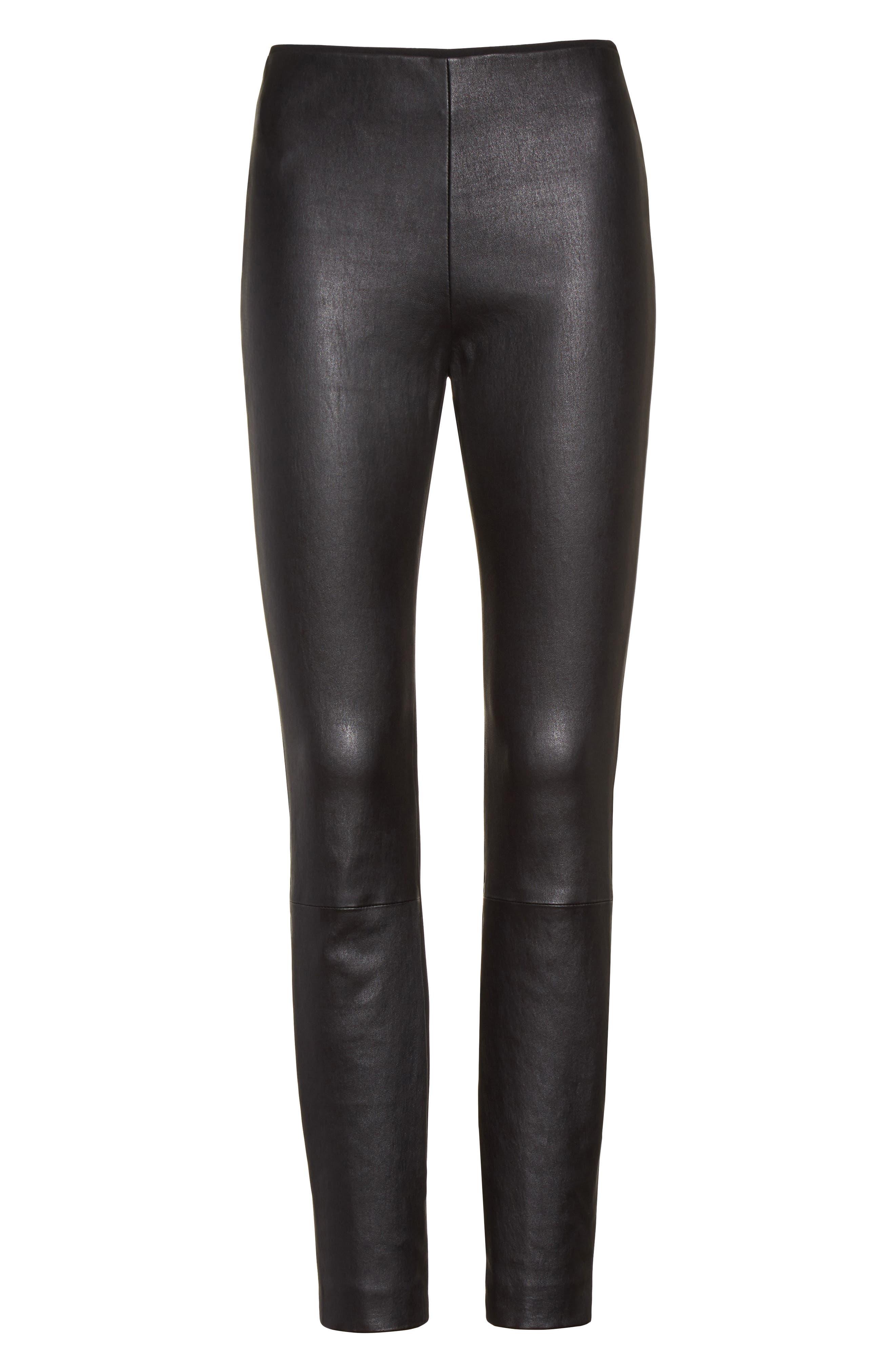 Alternate Image 7  - rag & bone Josephine Leather Front Skinny Pants