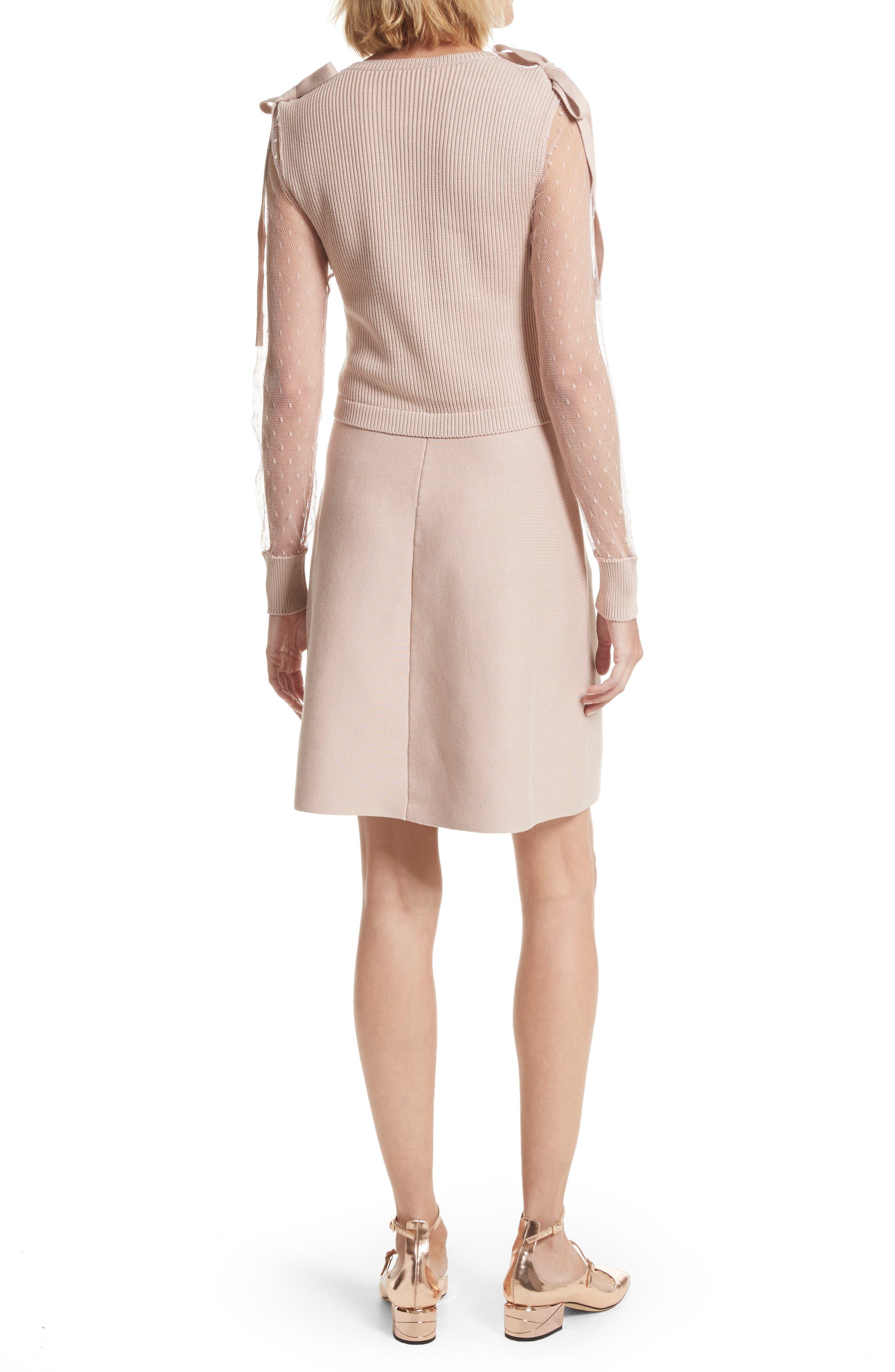 Point d'Esprit Cotton Dress,                             Alternate thumbnail 2, color,                             Nude