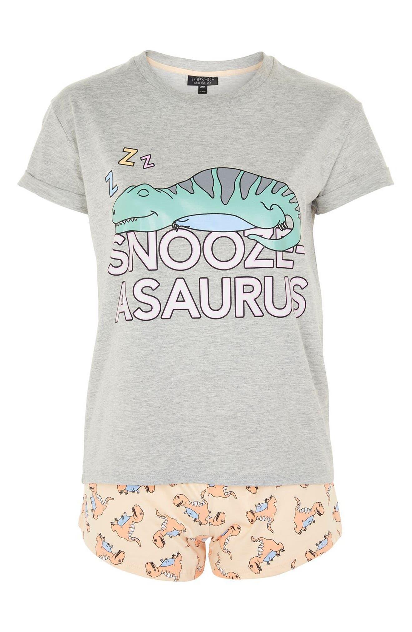 Alternate Image 3  - Topshop Snoozeasaurus Short Pajamas