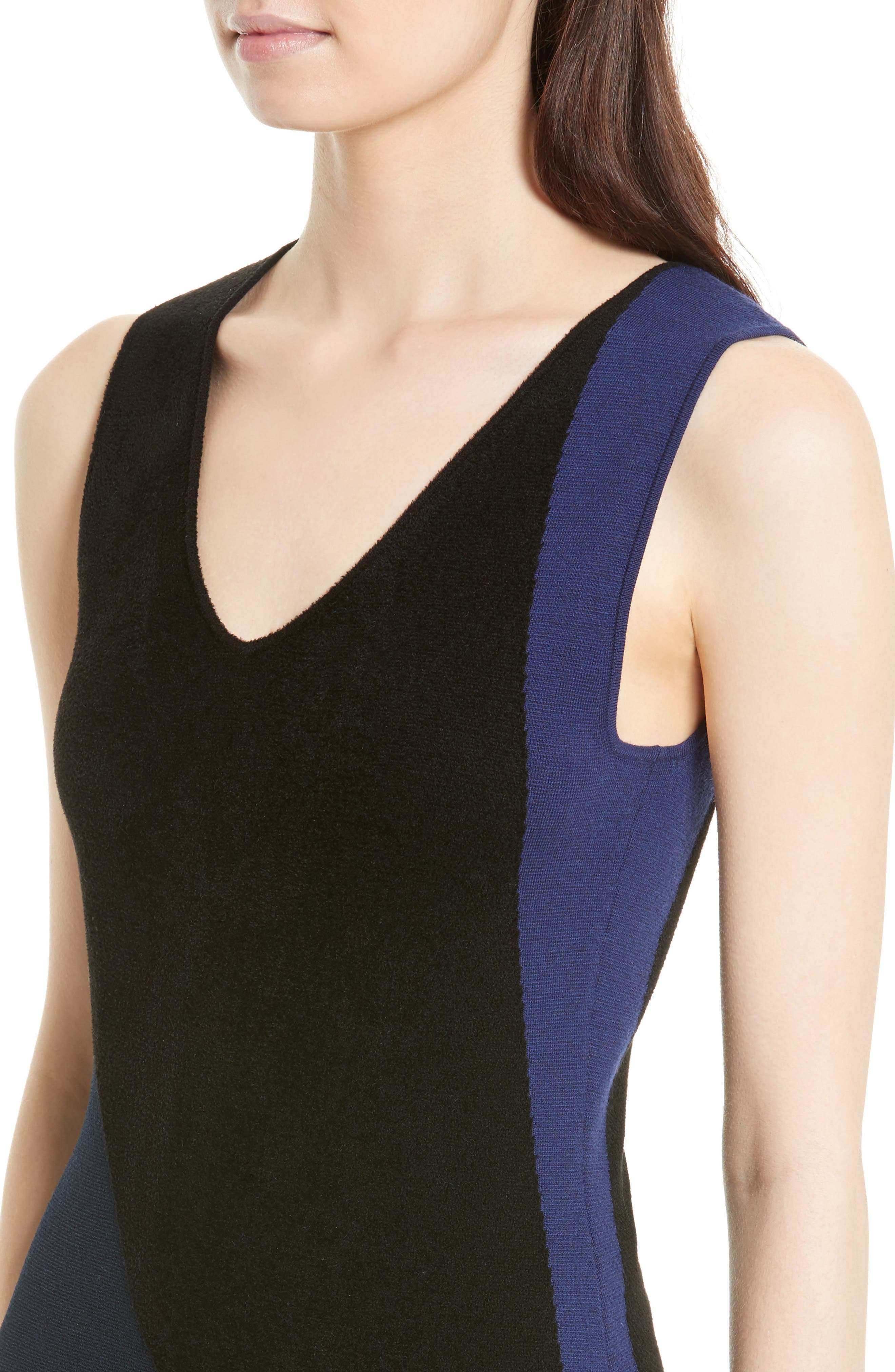 Body-Con Knit Maxi Dress,                             Alternate thumbnail 4, color,                             Black/ Deep Violet