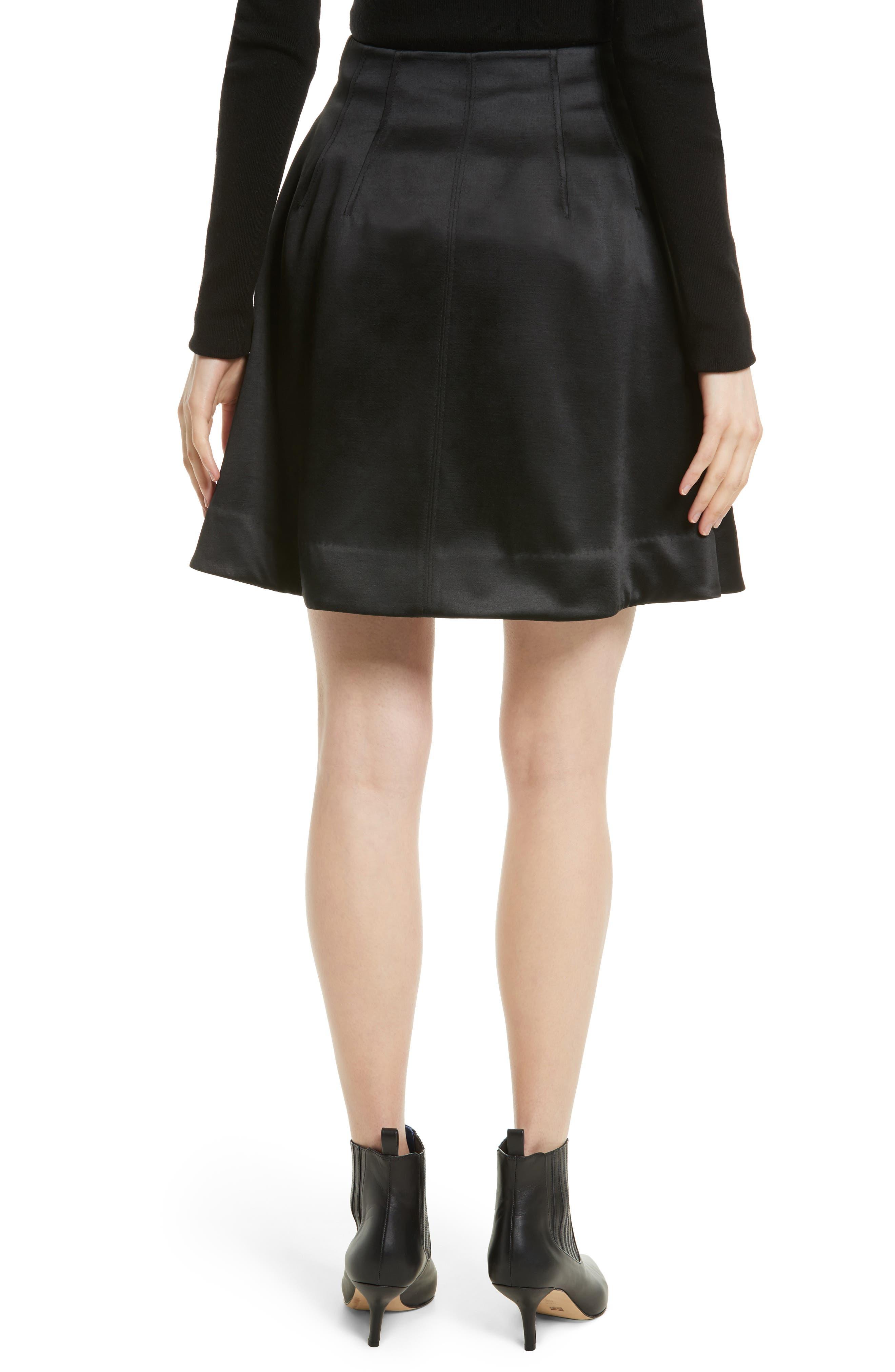 High Waist Flare Wrap Miniskirt,                             Alternate thumbnail 2, color,                             Black