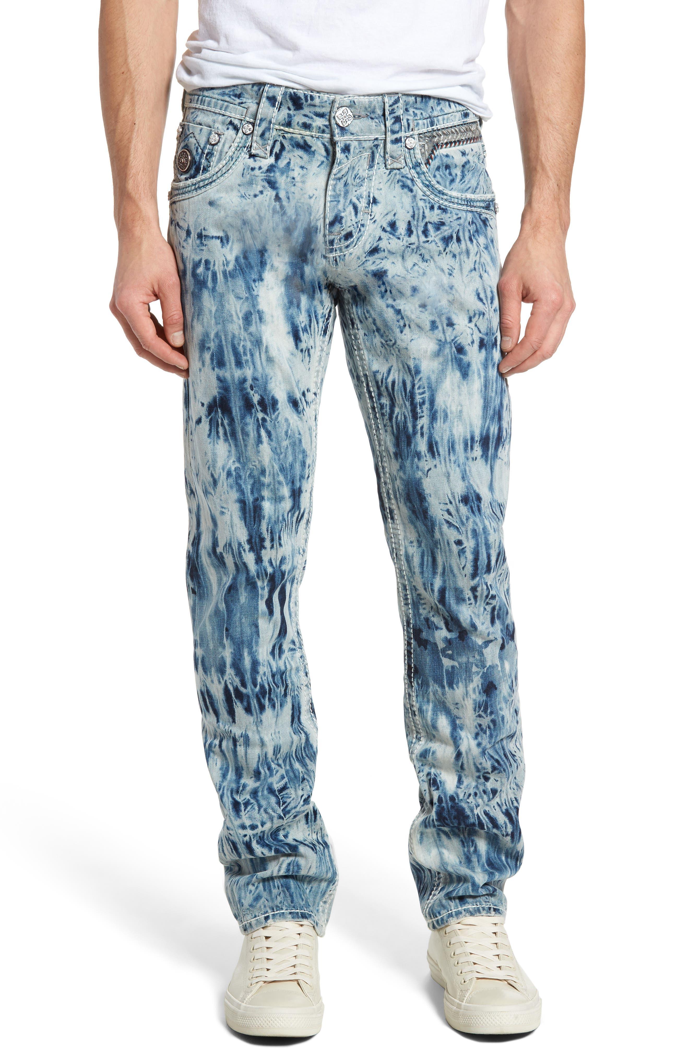 Rock Revival Alternative Straight Leg Jeans (Tie-Dye Blue)