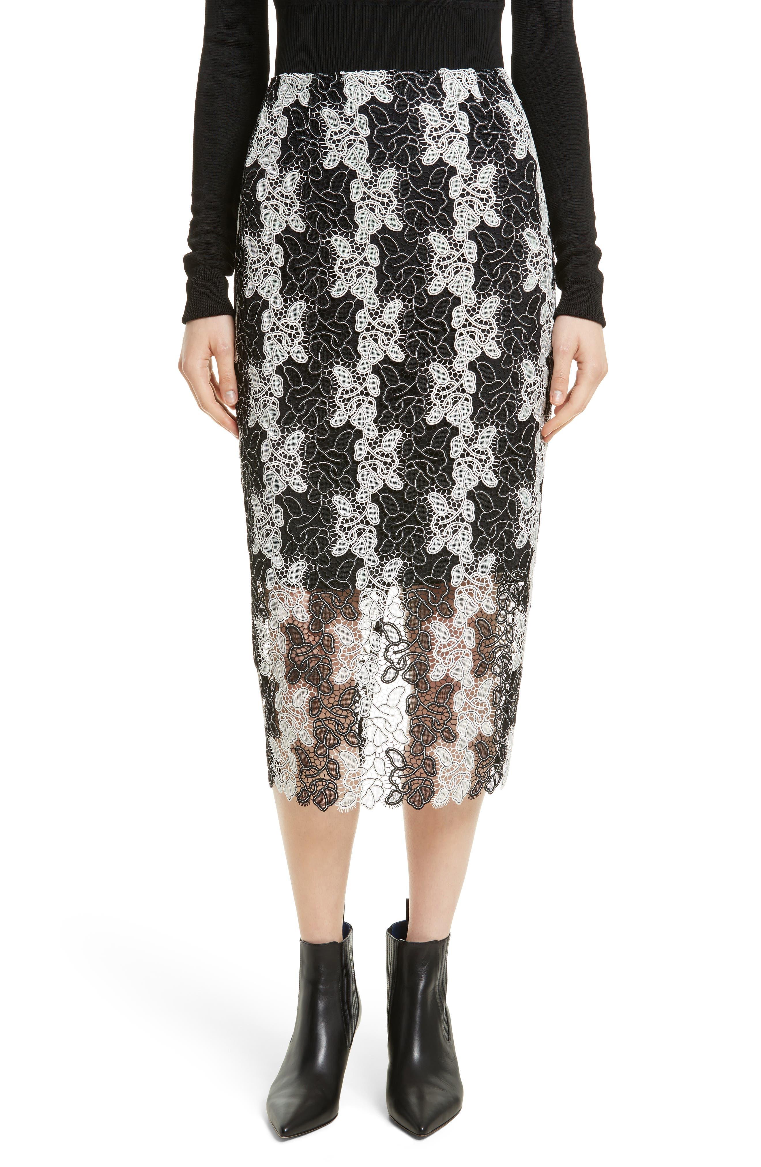 Lace Midi Skirt,                         Main,                         color, Black/ White
