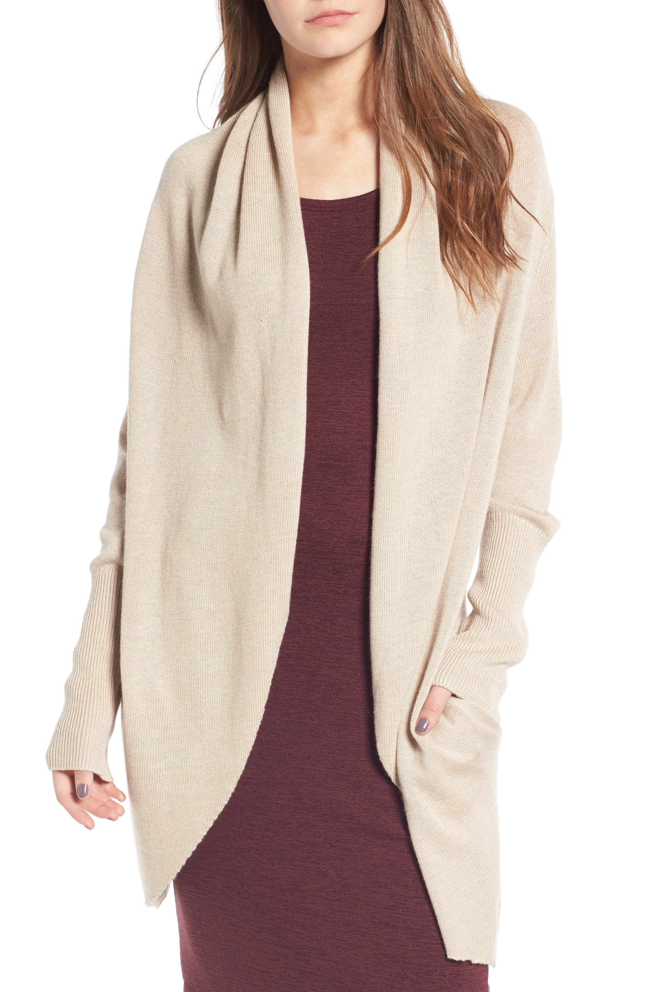 Easy Circle Cardigan,                         Main,                         color, Tan Ethereal Heather