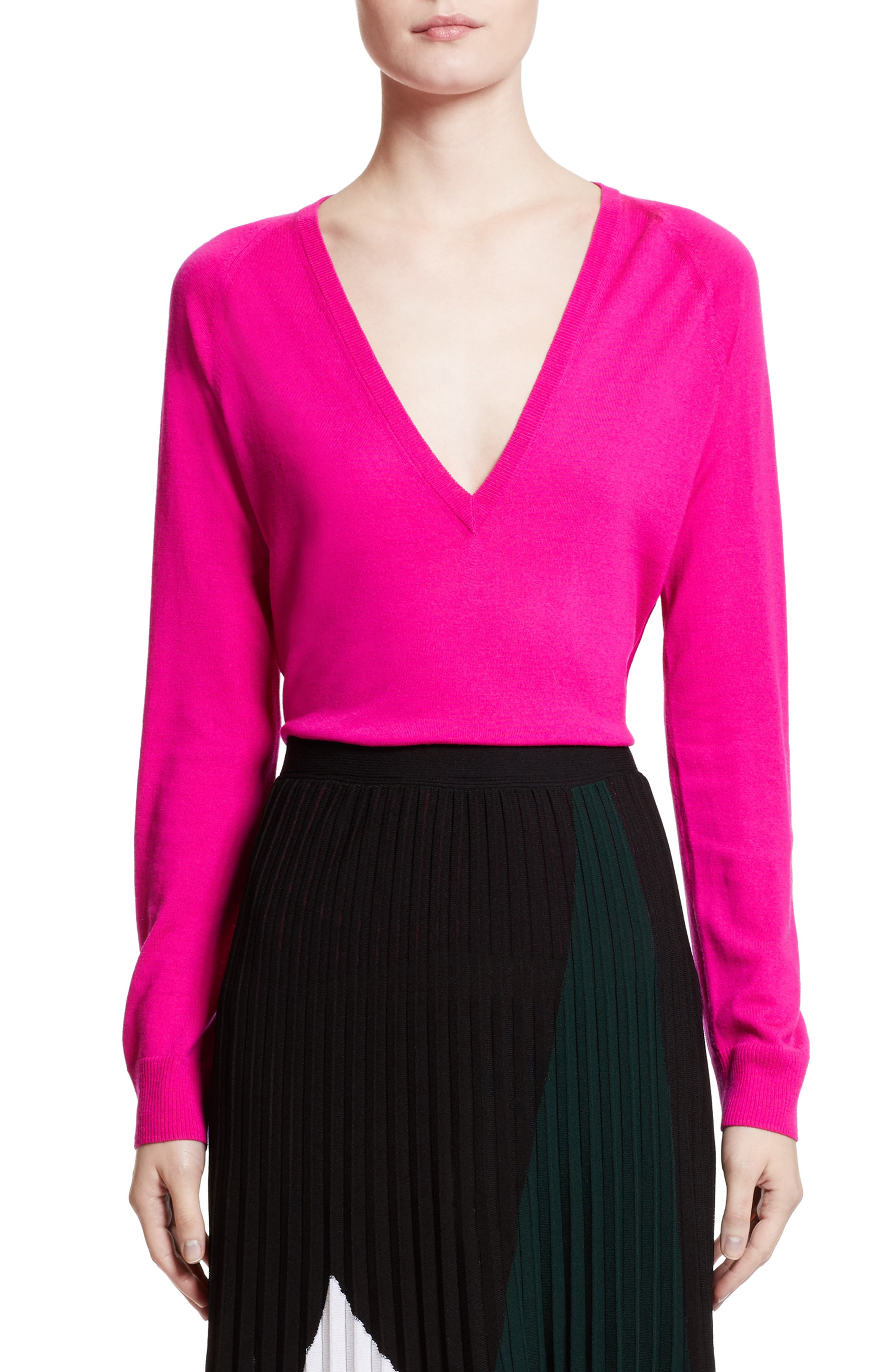 Plunging V-Neck Merino Wool Sweater,                             Alternate thumbnail 5, color,                             Electric Pink