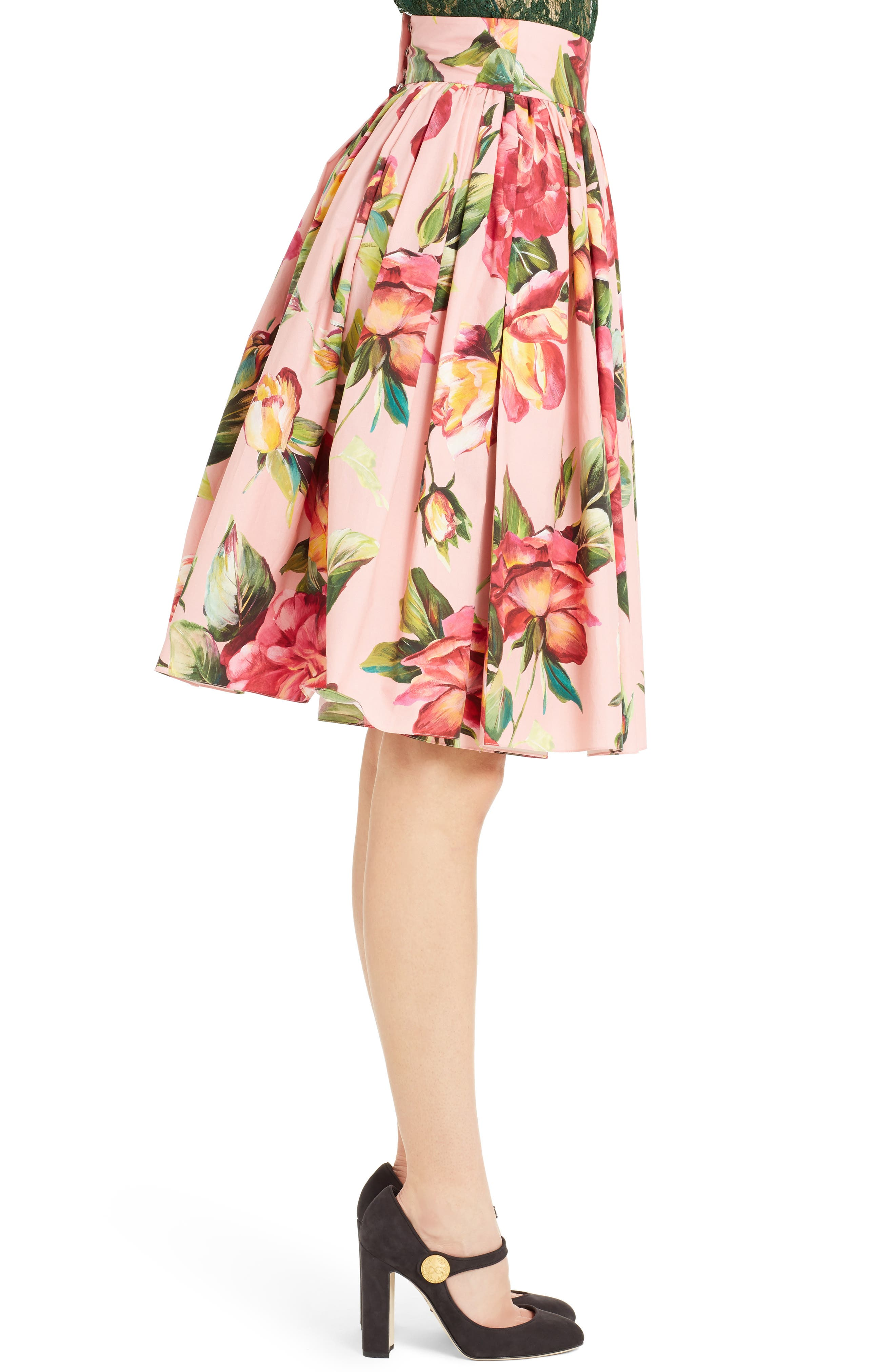 Alternate Image 4  - Dolce&Gabbana Rose Print Poplin Skirt