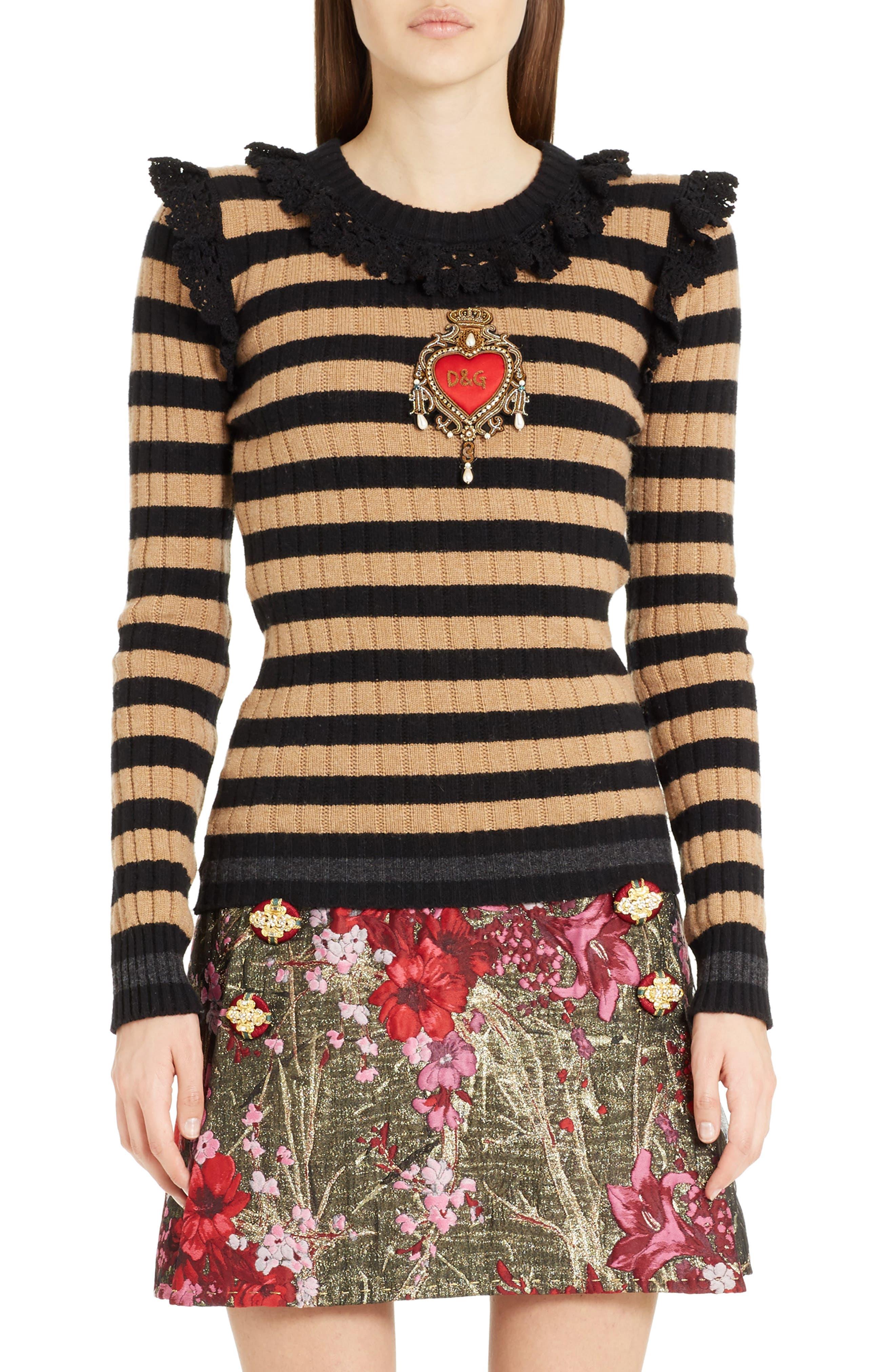 Heart Patch Stripe Wool & Cashmere Sweater,                             Main thumbnail 1, color,                             Camel/ Black Stripe