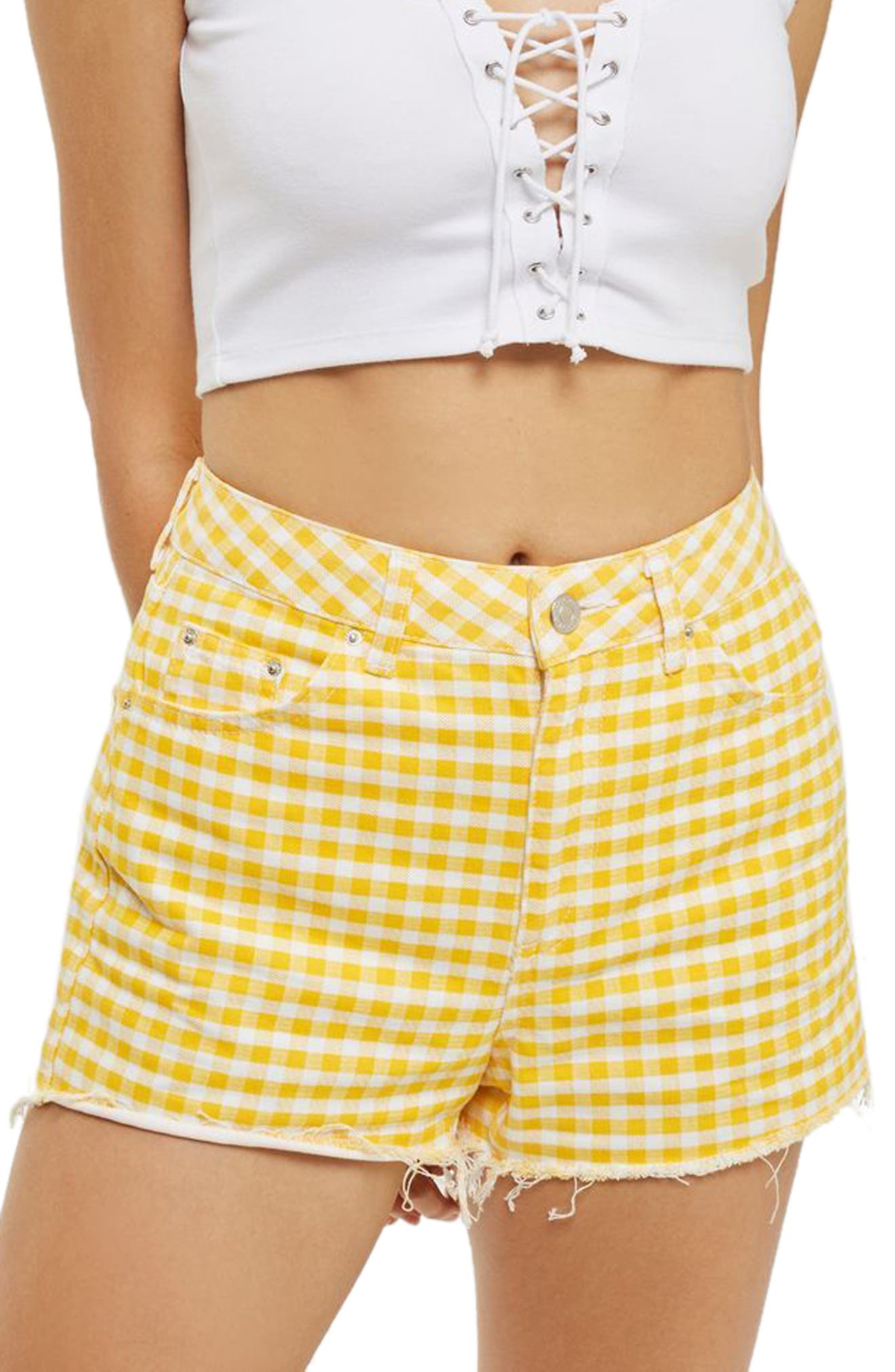 Alternate Image 1 Selected - Topshop Gingham Mom Shorts