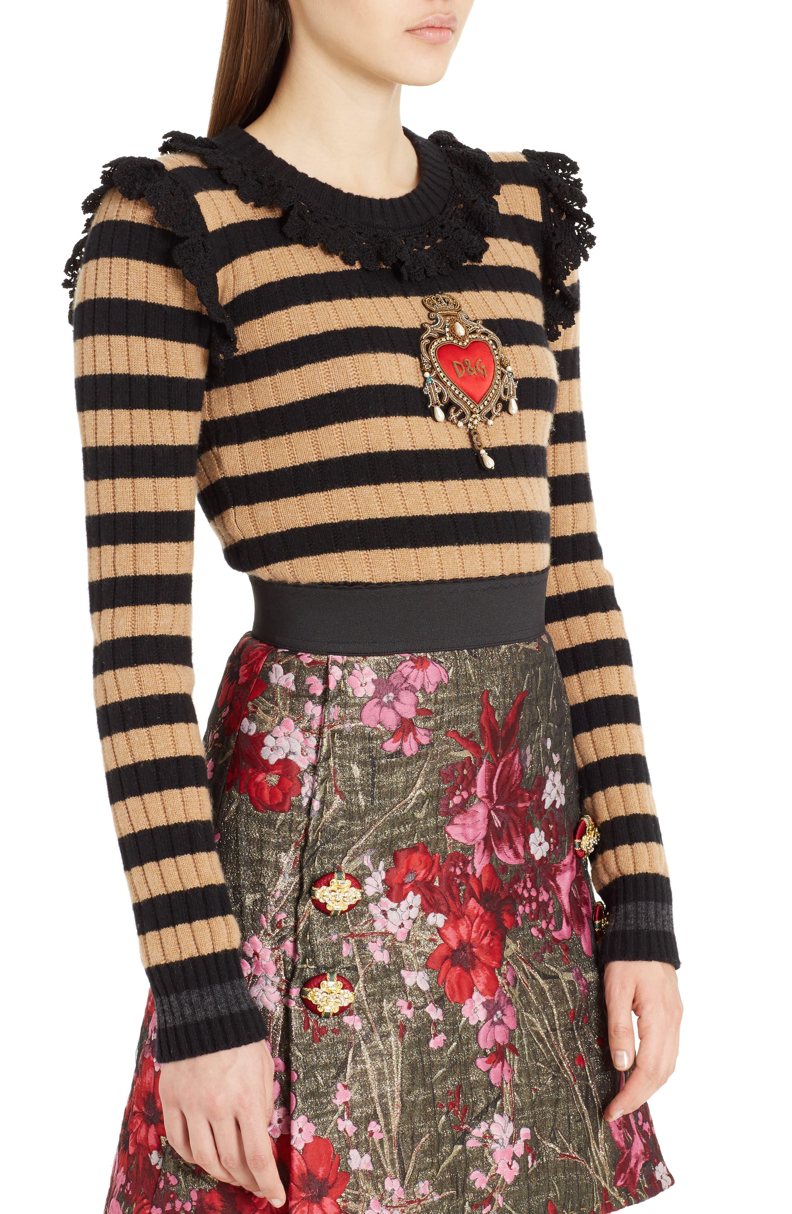 Heart Patch Stripe Wool & Cashmere Sweater,                             Alternate thumbnail 4, color,                             Camel/ Black Stripe