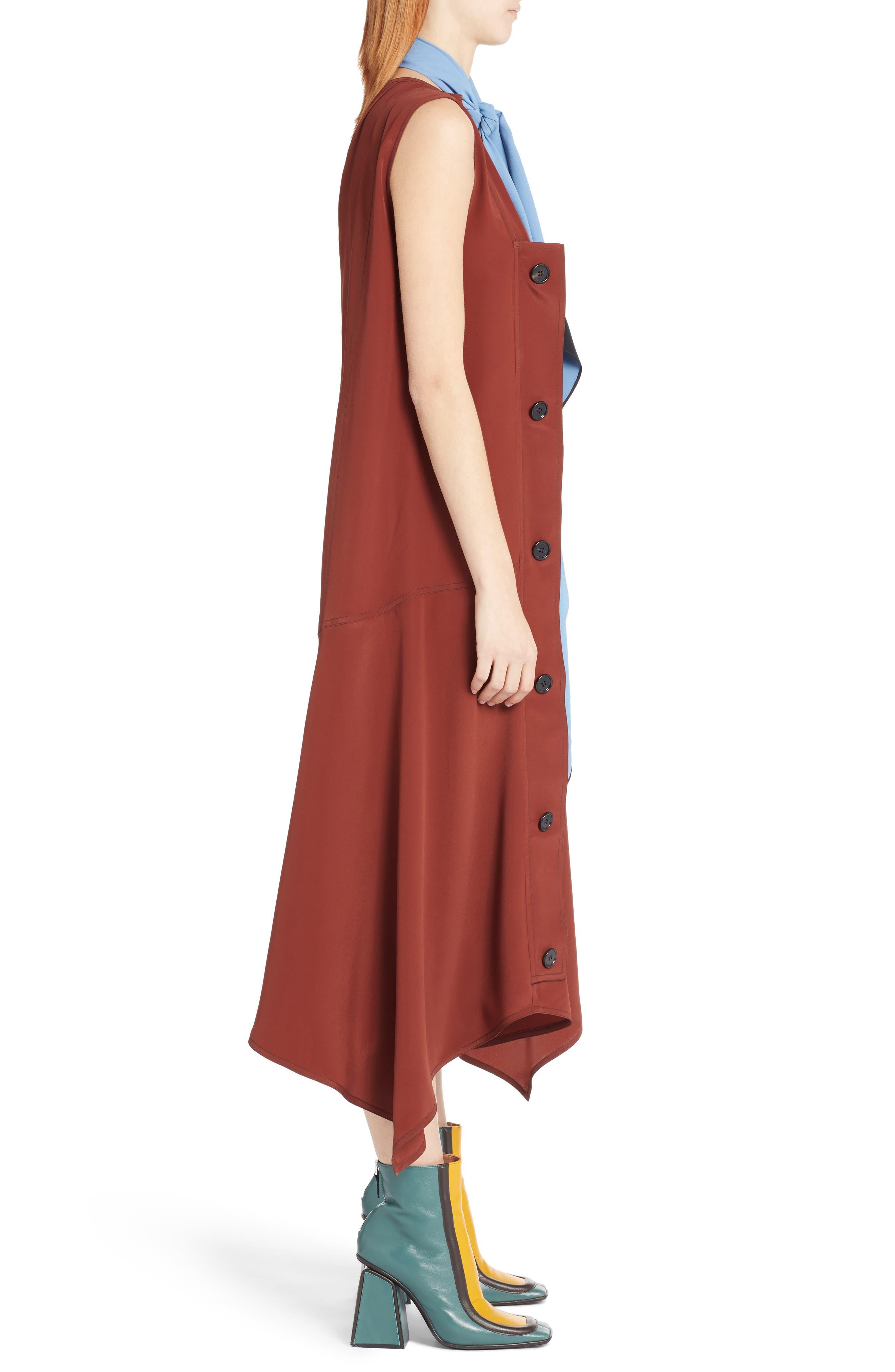 Tie Neck Side Button Dress,                             Alternate thumbnail 4, color,                             Port Red