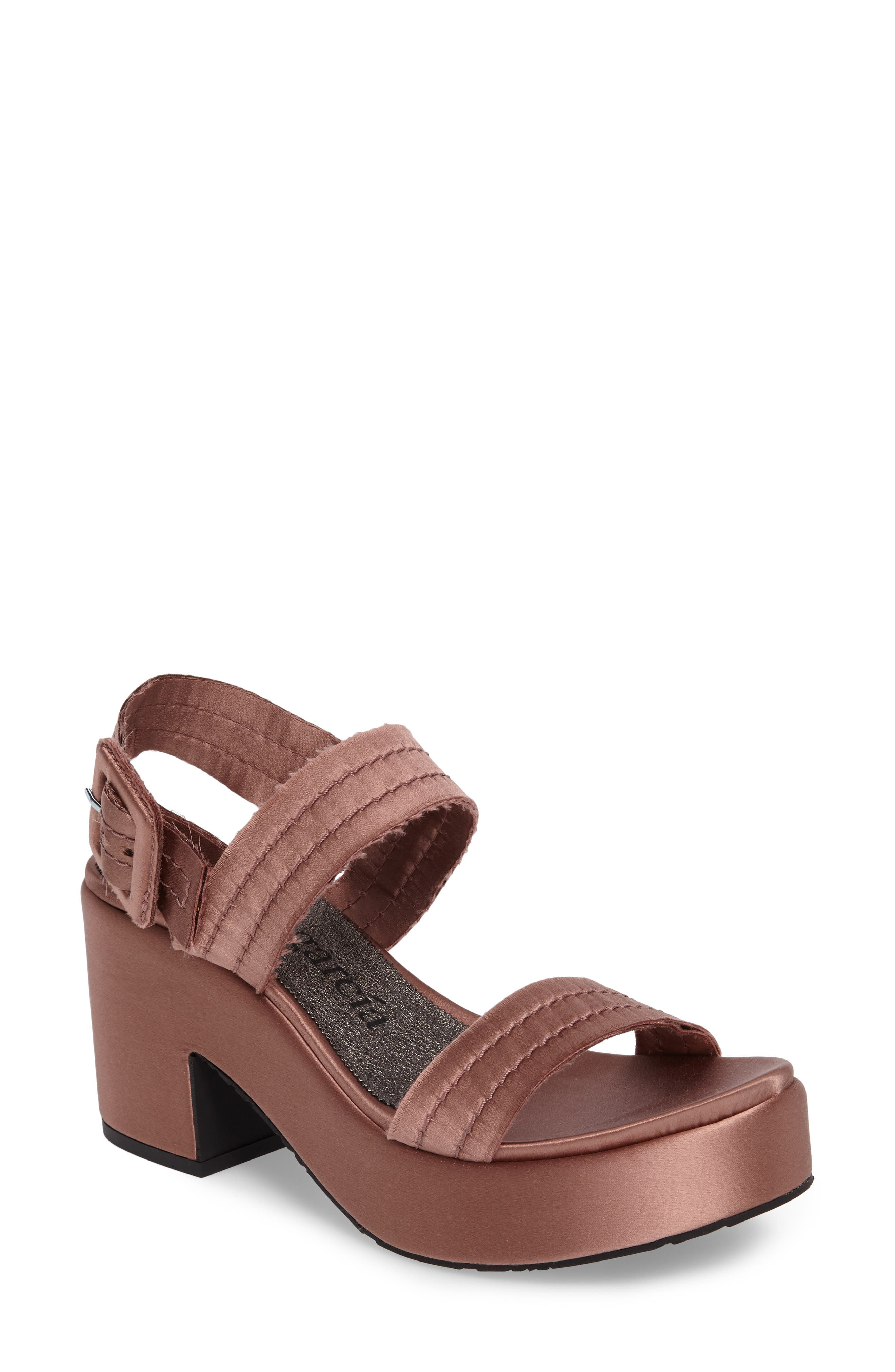 Decima Platform Sandal,                             Main thumbnail 1, color,                             Powder Satin