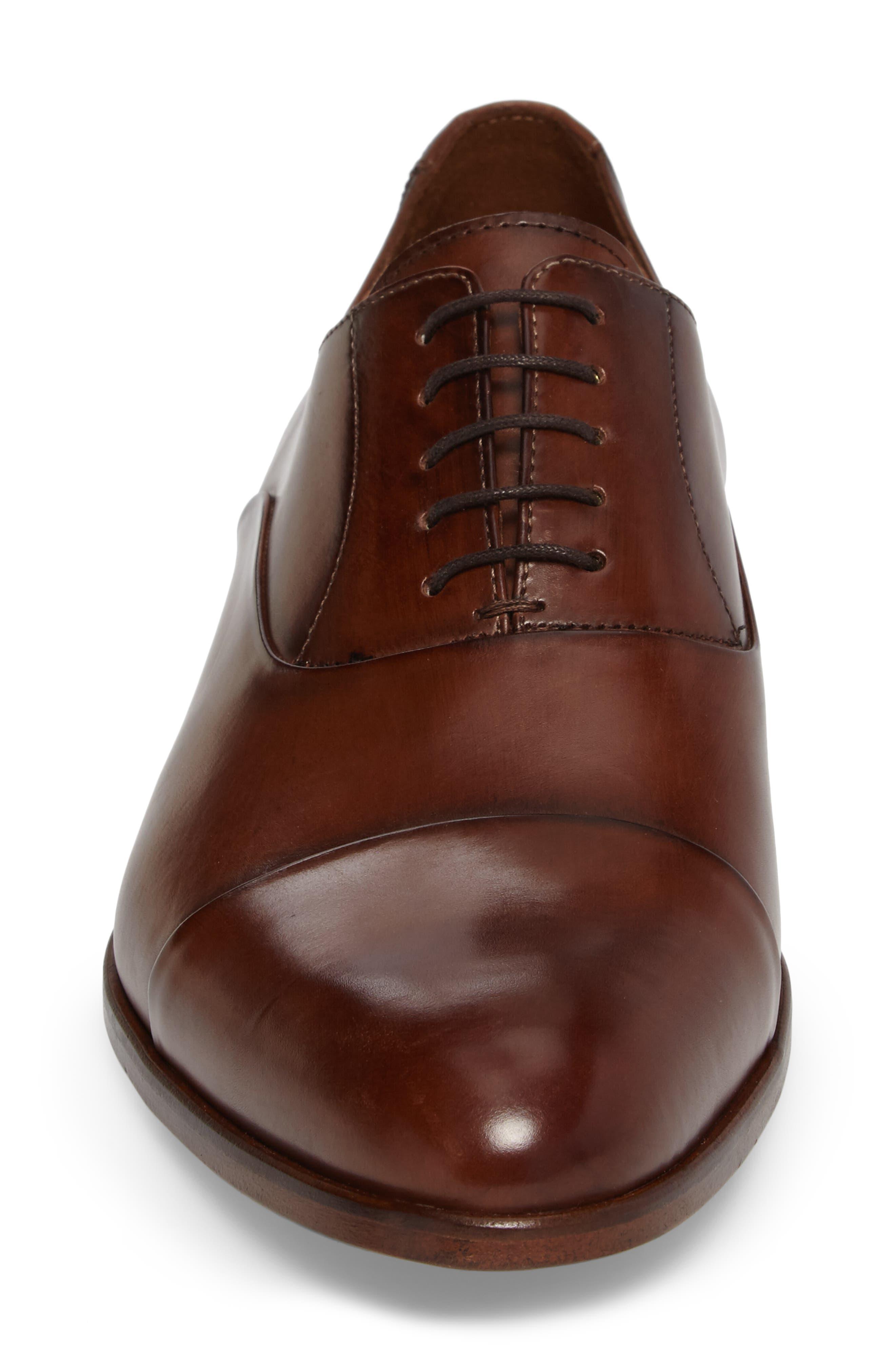 Malik Cap-Toe Oxford,                             Alternate thumbnail 4, color,                             Brown Leather