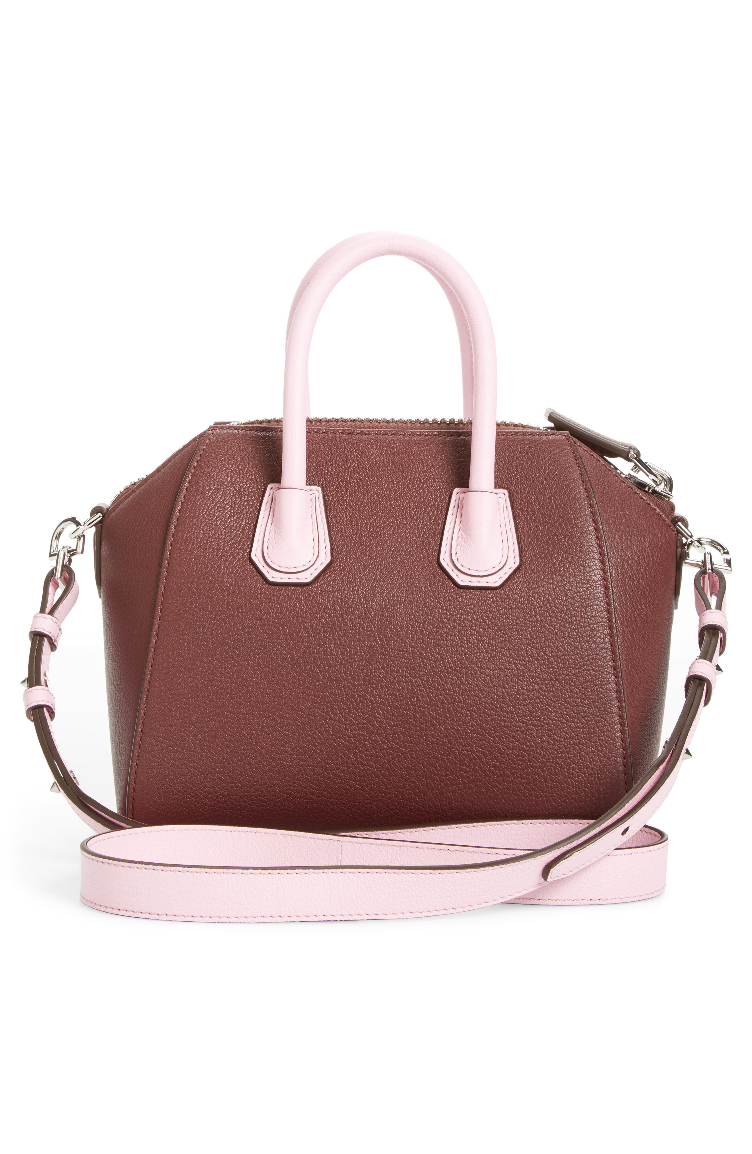 Mini Antigona Leather Top Handle Satchel,                             Alternate thumbnail 3, color,                             Burgundy/ Pink