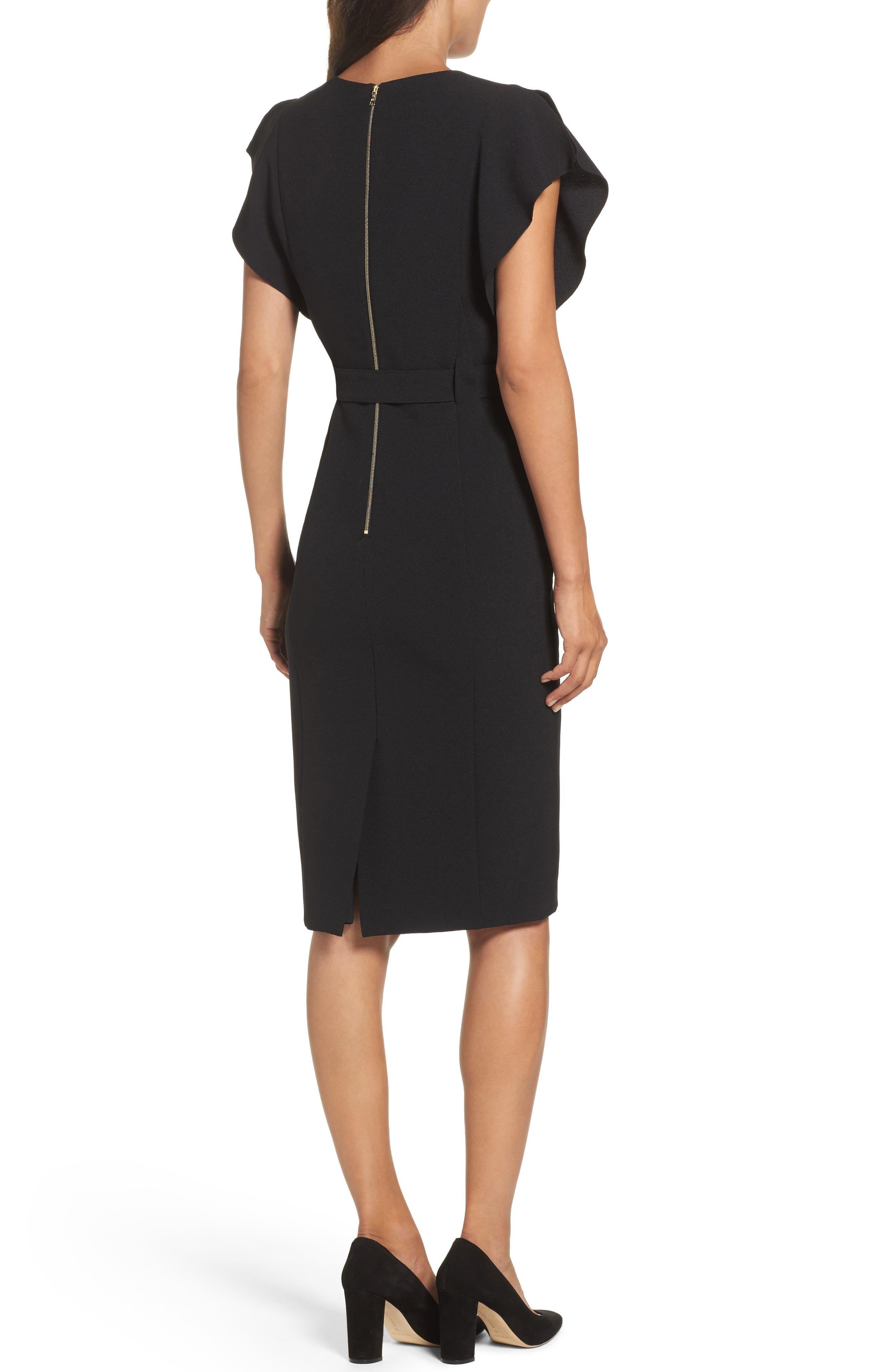 Ruffle Sleeve Sheath Dress,                             Alternate thumbnail 2, color,                             Black
