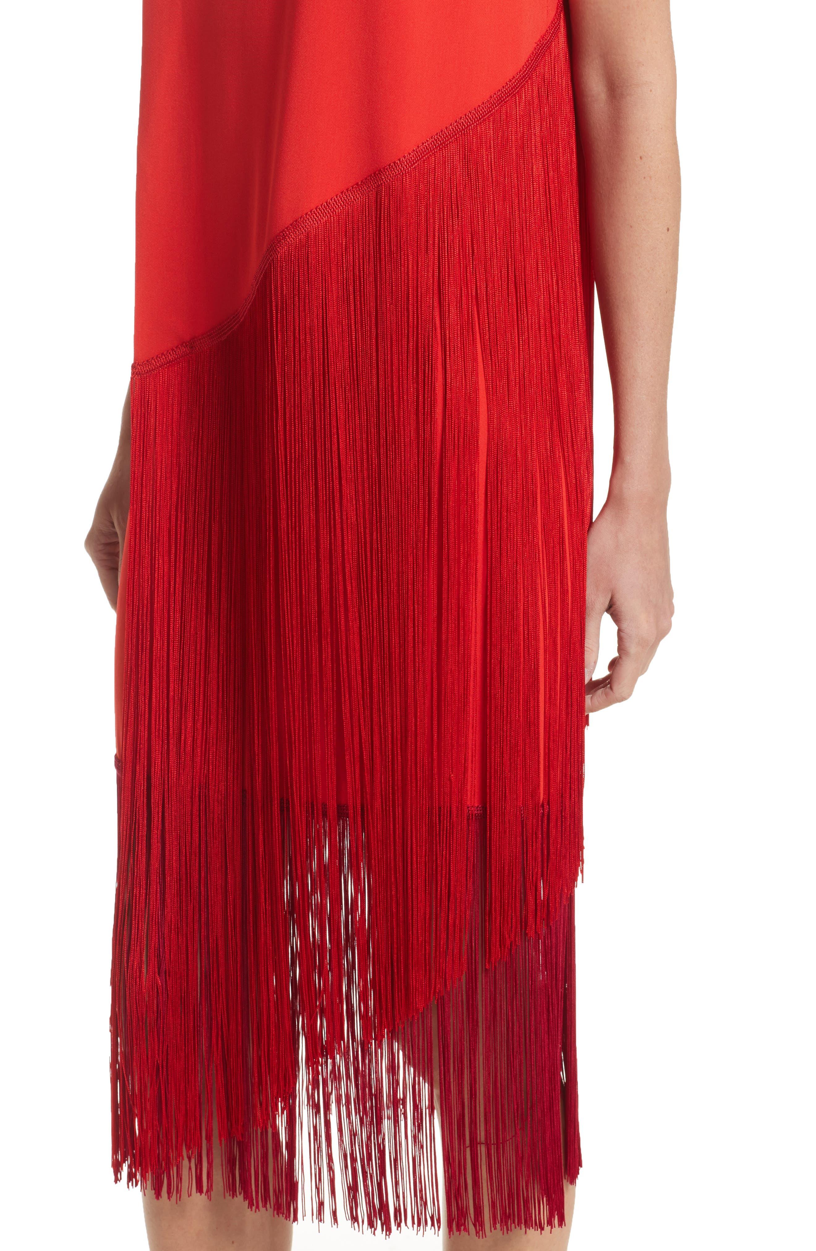 Fringe Overlay Dress,                             Alternate thumbnail 7, color,                             Lipstick