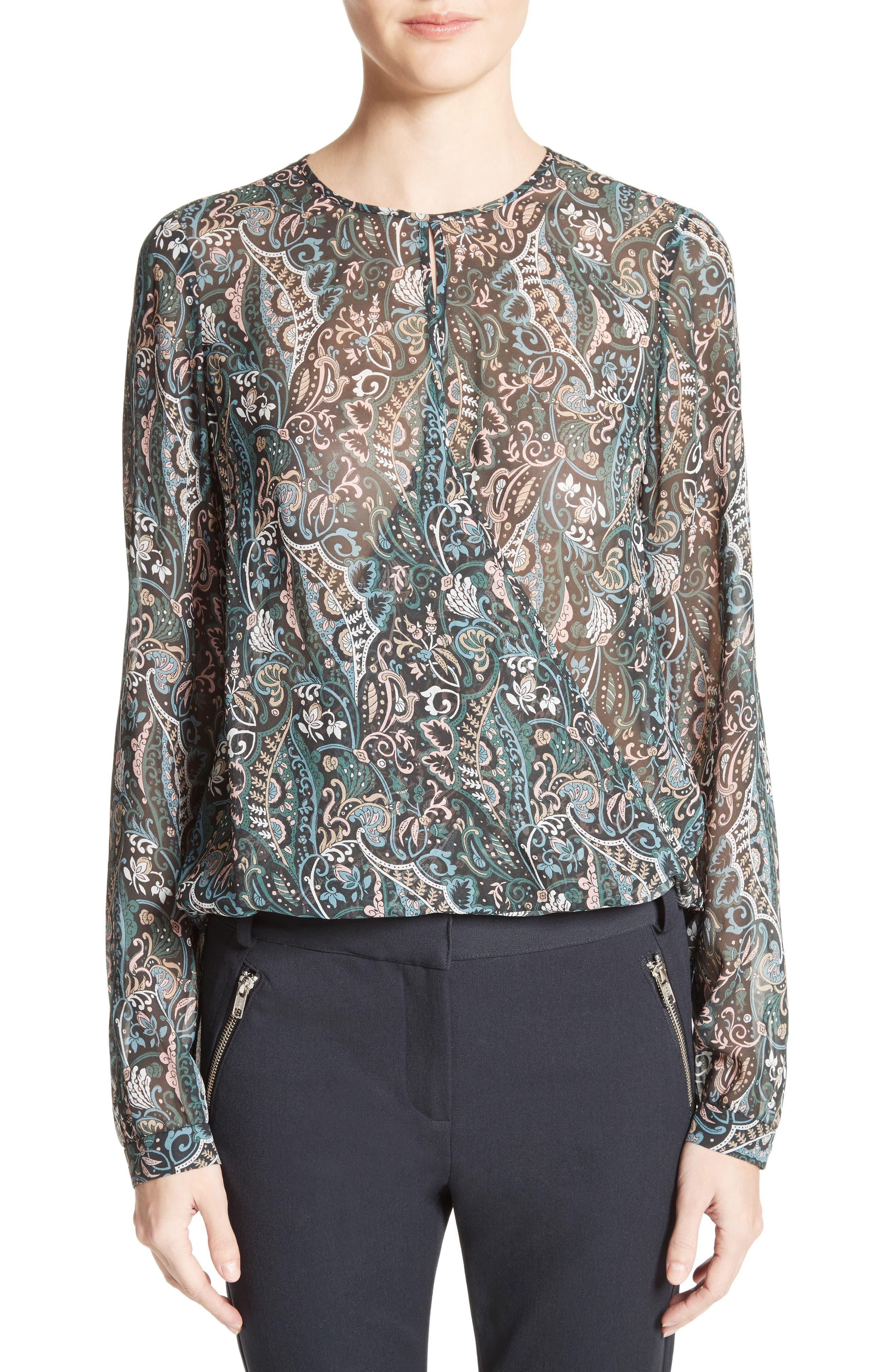 Gayle Paisley Print Silk Blouse,                         Main,                         color, Nude/ Blue/ Green Multi