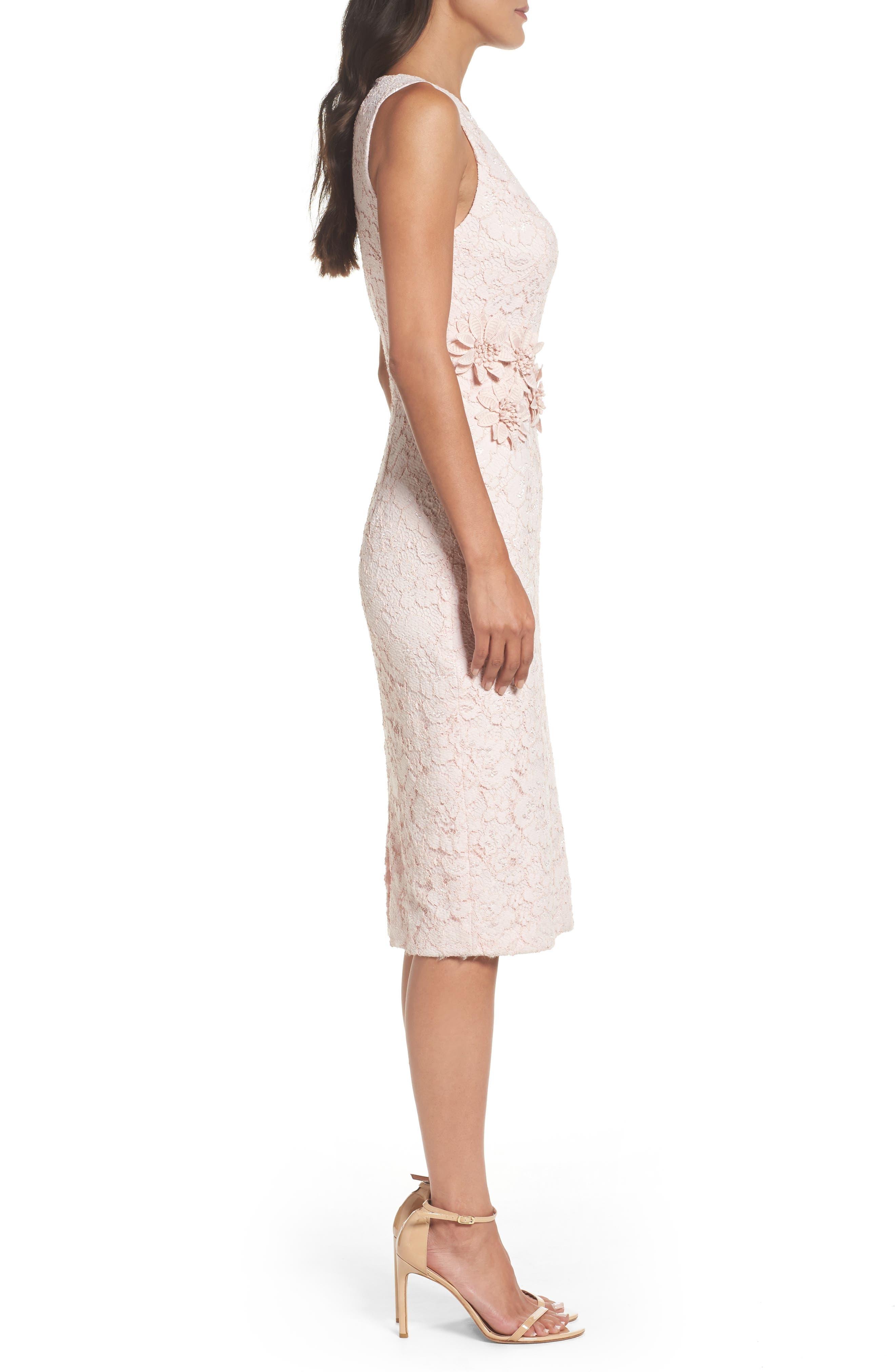 Appliqué Lace Sheath Dress,                             Alternate thumbnail 3, color,                             Rose