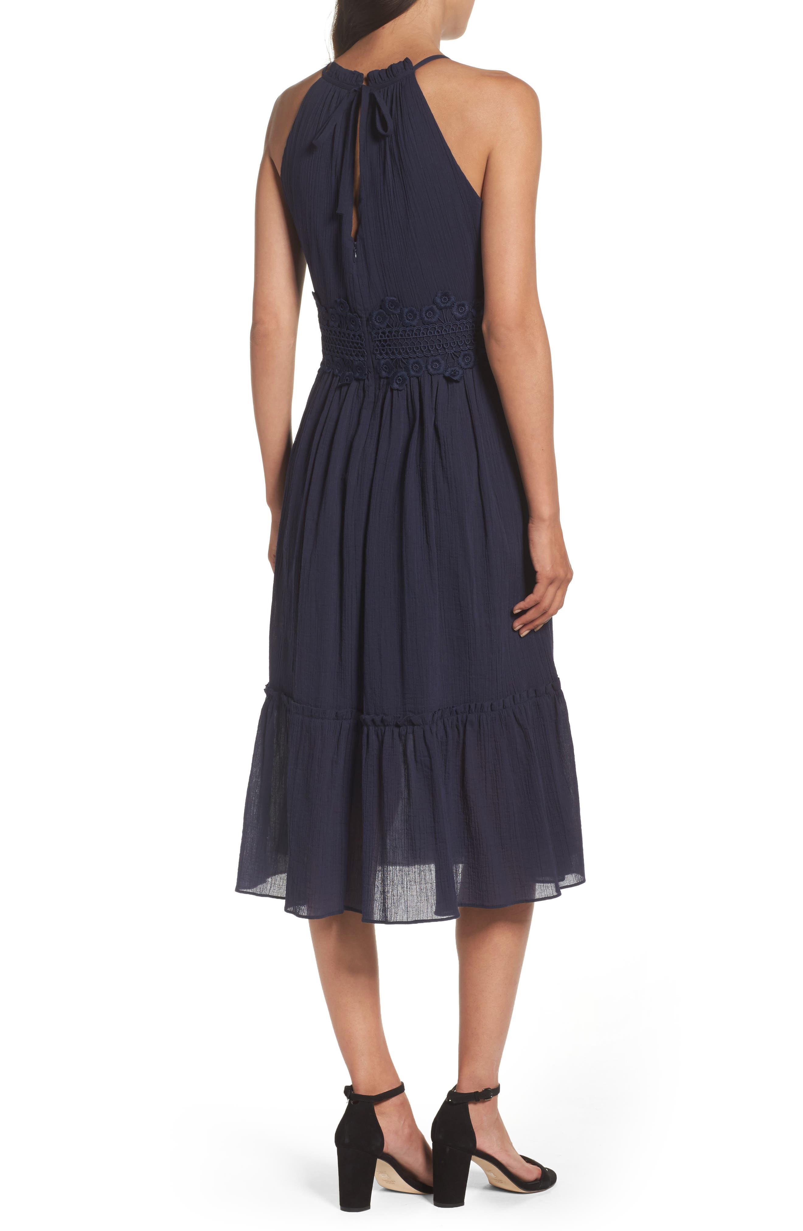 Halter Midi Dress,                             Alternate thumbnail 2, color,                             Navy