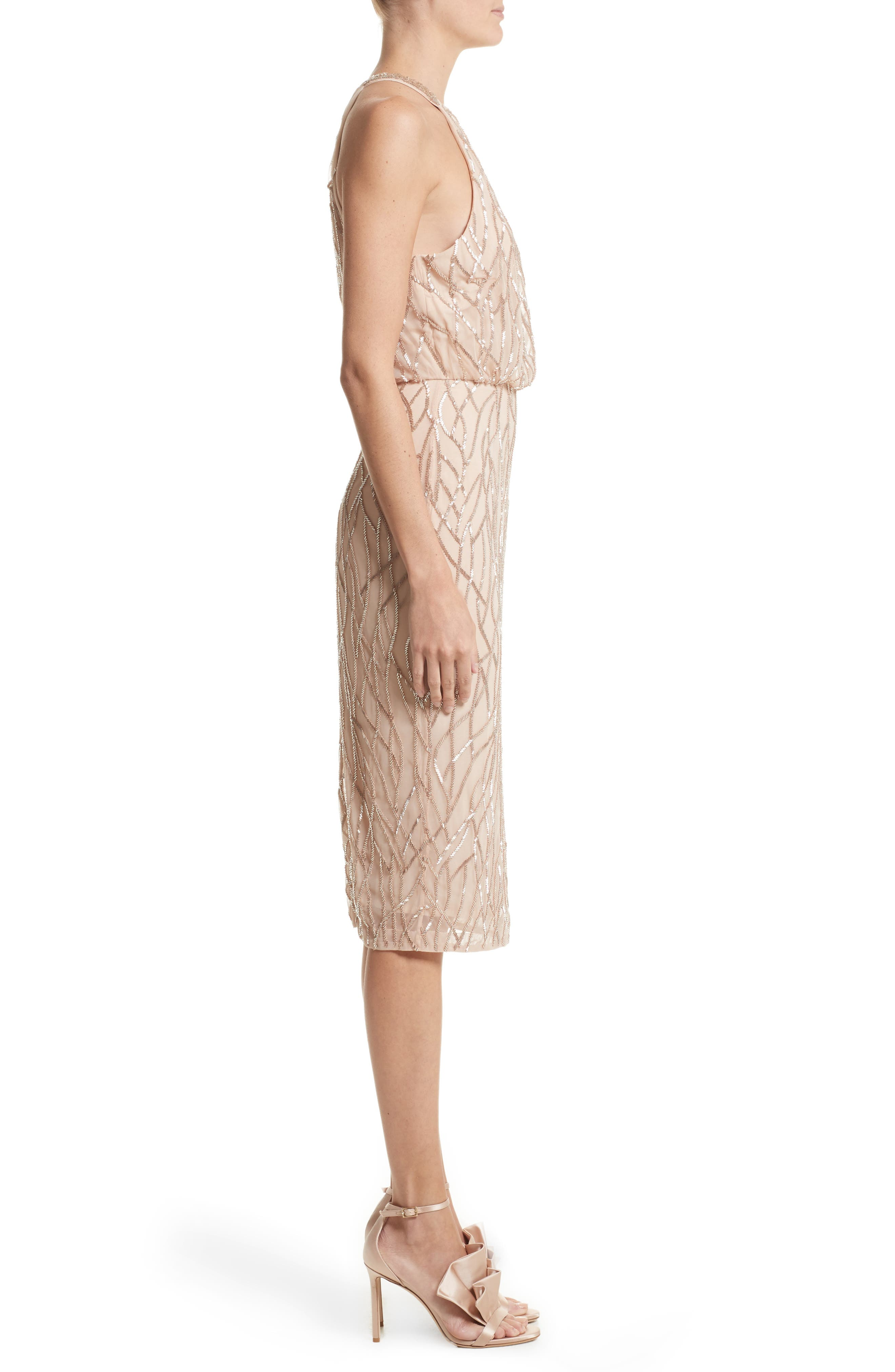 Alternate Image 4  - Rachel Gilbert Toriana Beaded Halter Style Sheath Dress