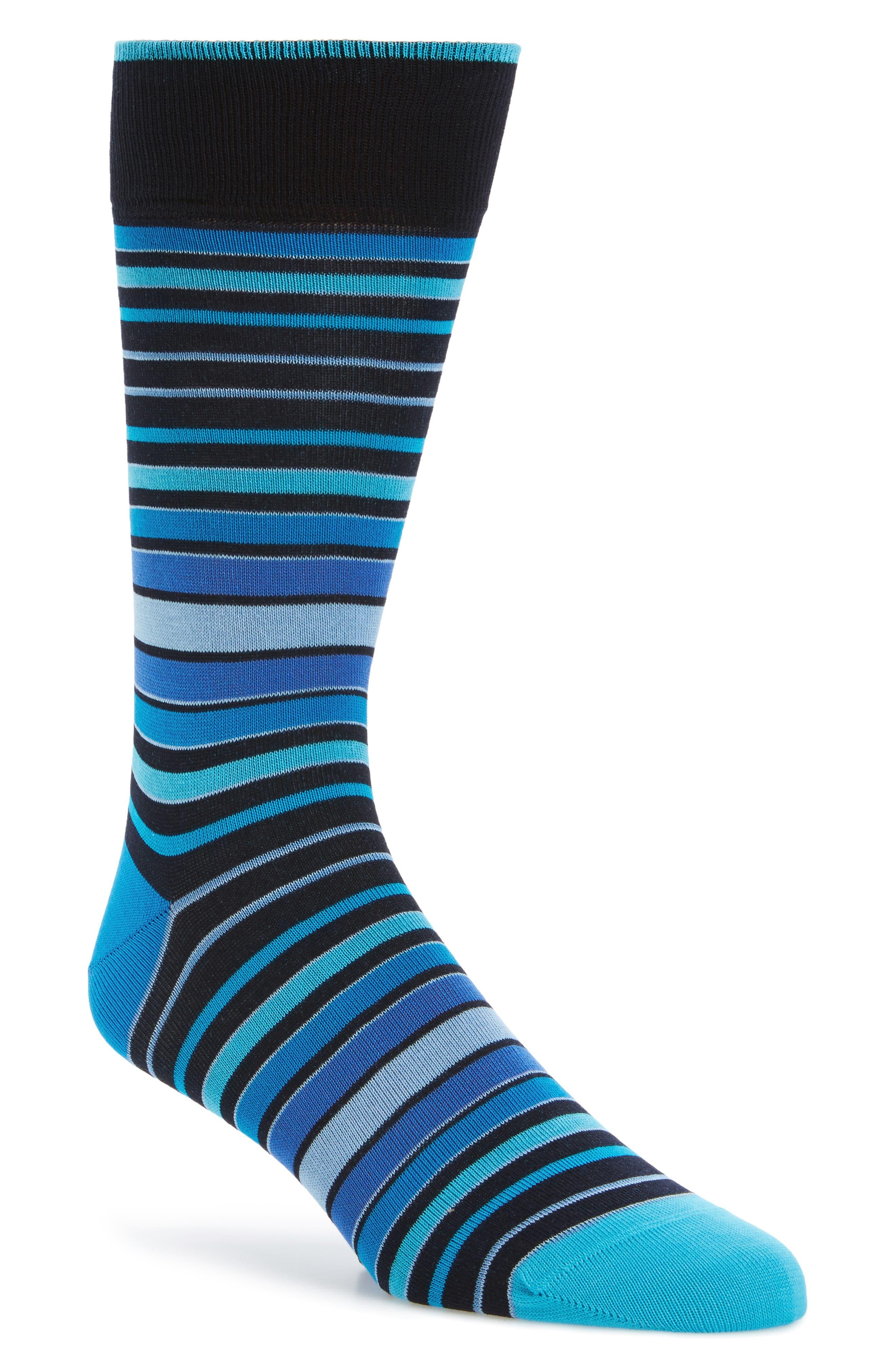 Main Image - Bugatchi Thick Stripe Crew Socks