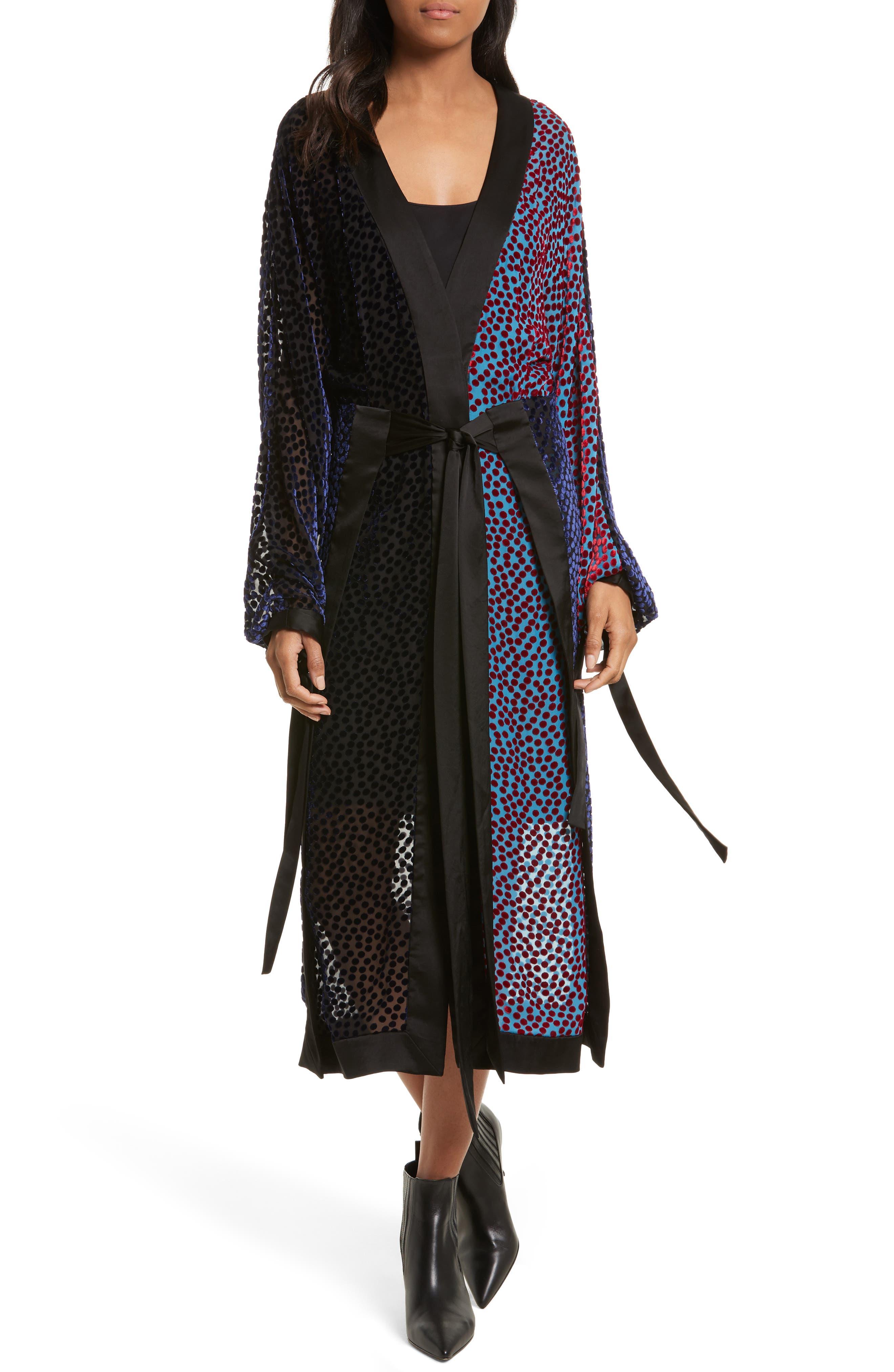 Burnout Velvet Kimono Wrap Dress,                         Main,                         color, Deep Violet Multi