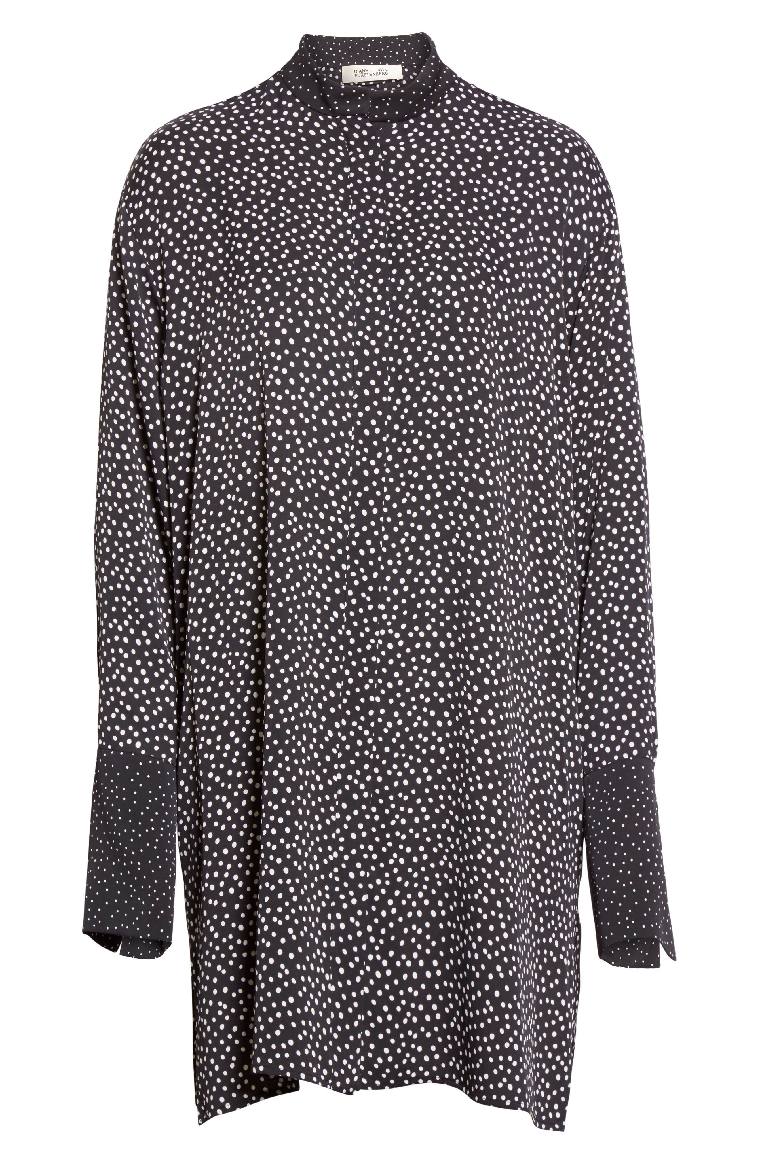 Silk Shirtdress,                             Alternate thumbnail 6, color,                             Orillon Dot Black
