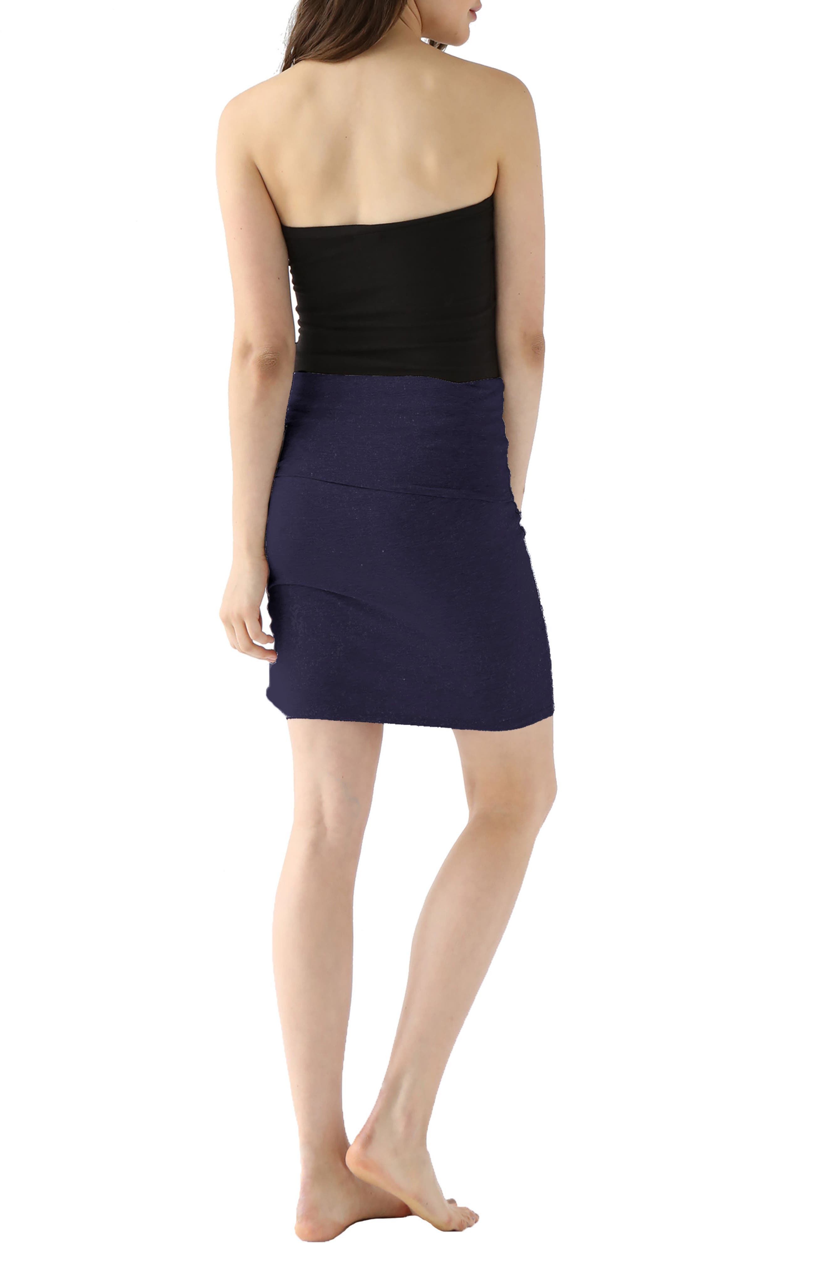 Trina Foldover Stretch Cotton Skirt,                             Alternate thumbnail 2, color,                             Midnight