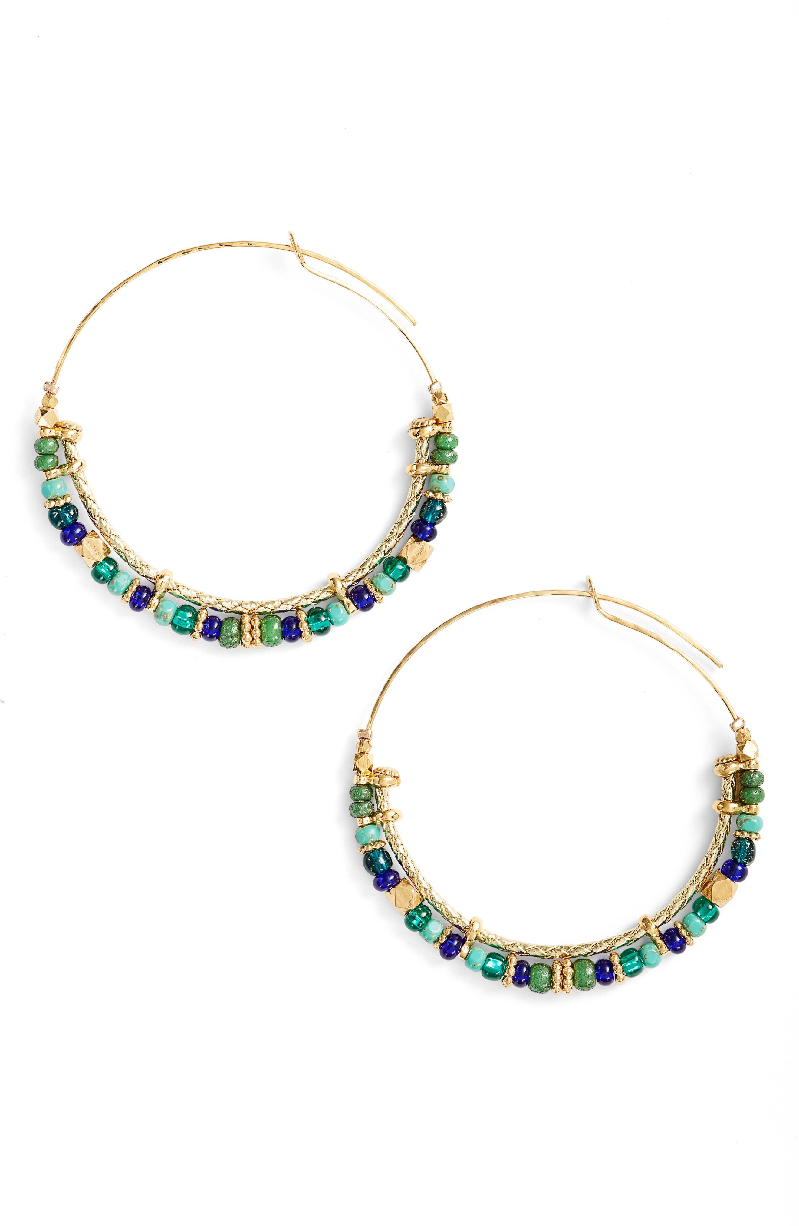 Comedia Hoop Earrings,                         Main,                         color, Blue/ Green