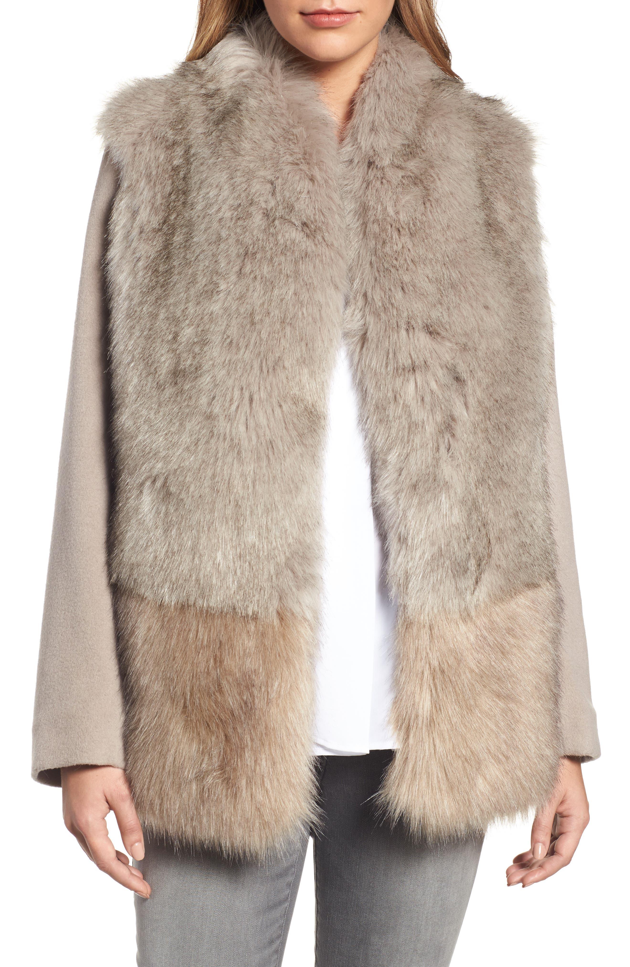 Elie Tahari Maddie Wool Blend Sleeve Faux Fur Jacket