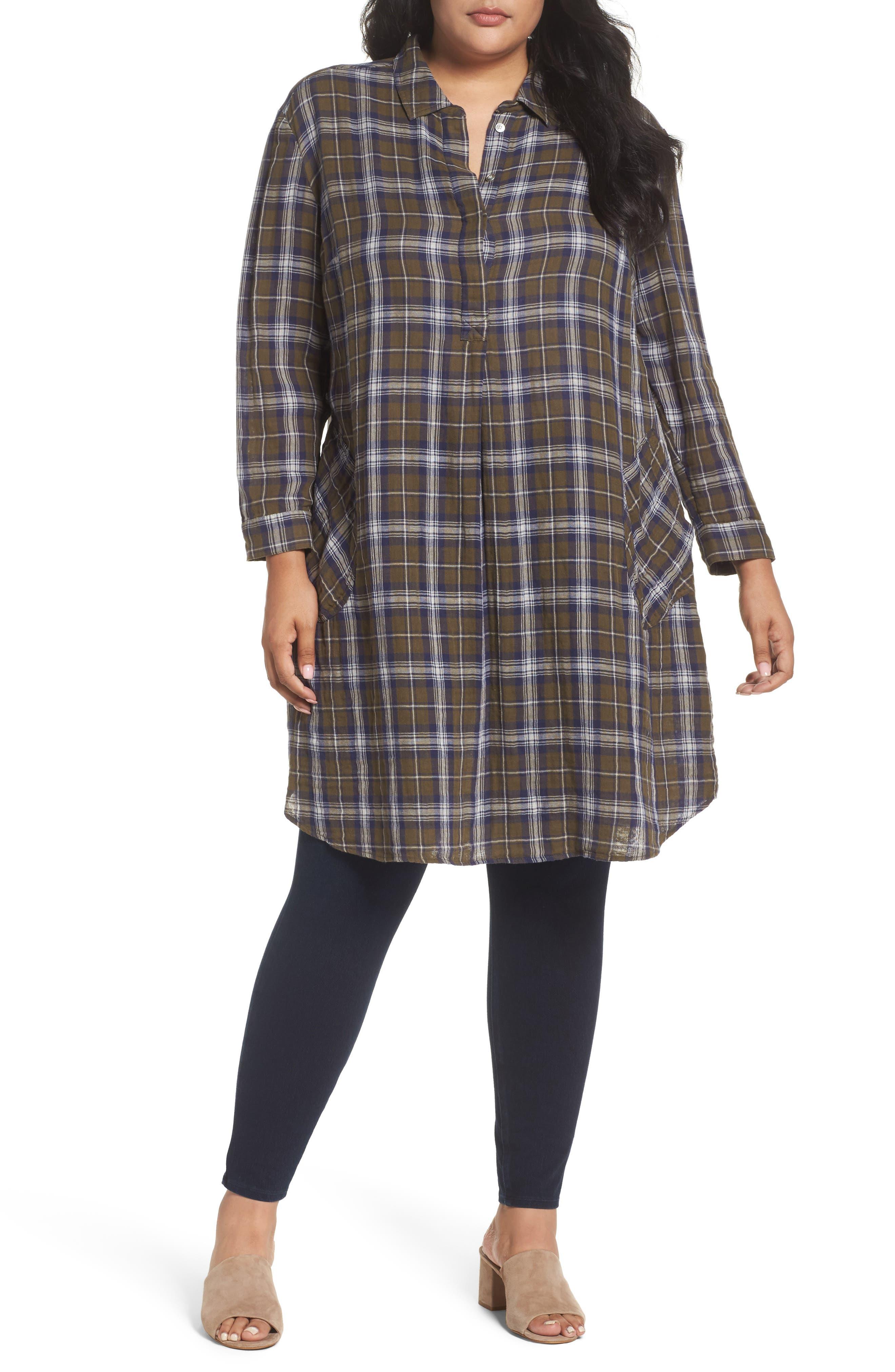 Caslon® Patch Pocket Tunic Dress (Plus Size)