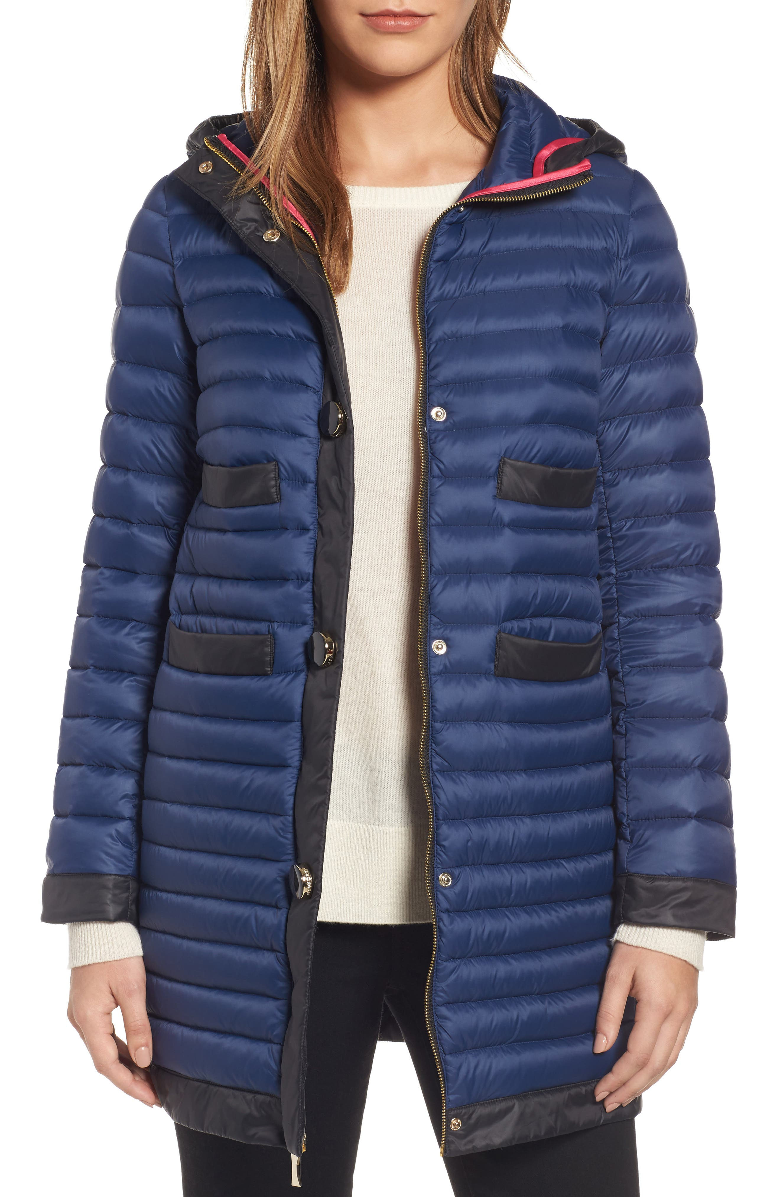 contrast trim hooded puffer coat,                         Main,                         color, Rich Navy/ Black