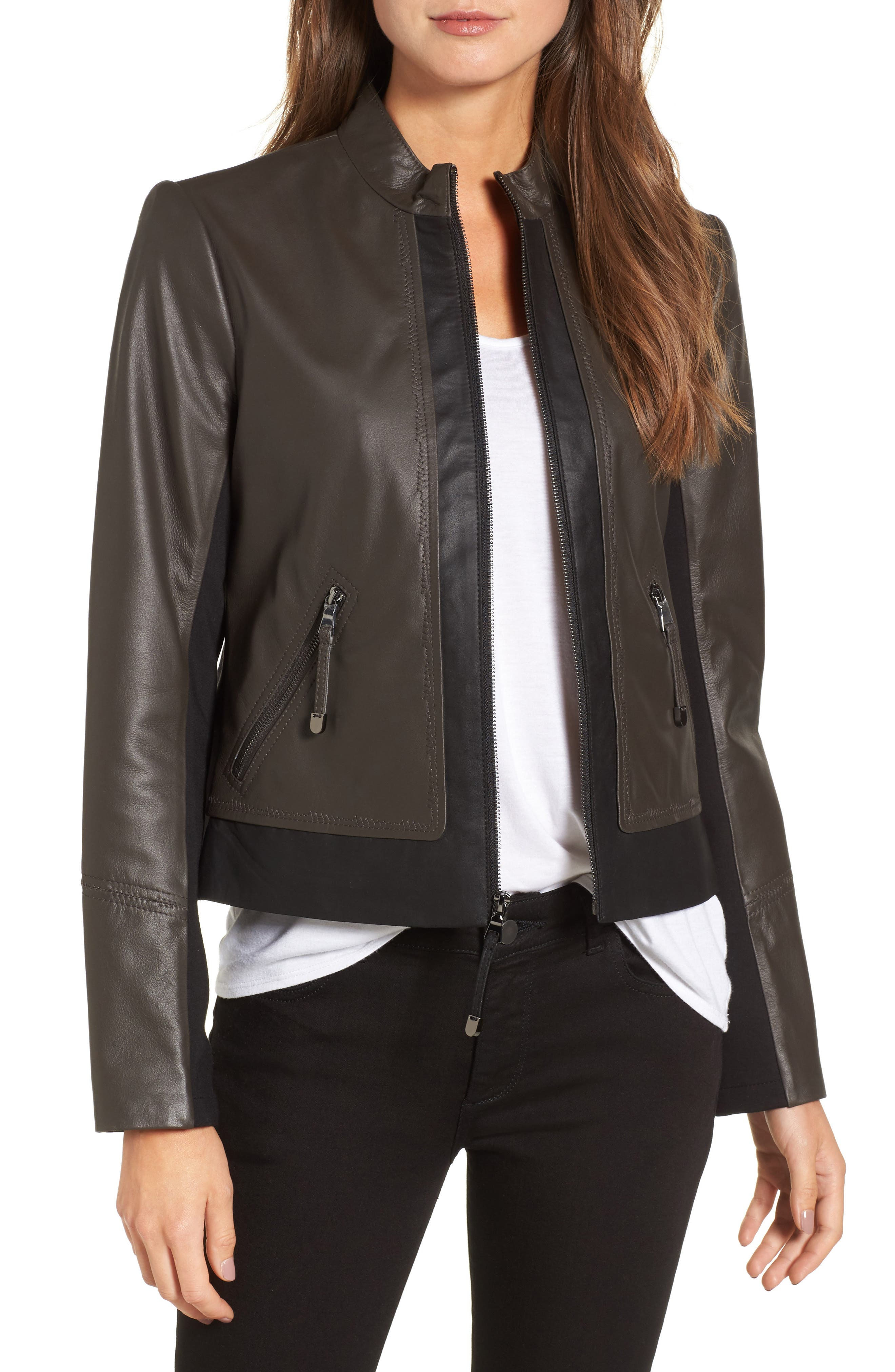 Colorblock Leather Jacket,                         Main,                         color, Black/ Tusk