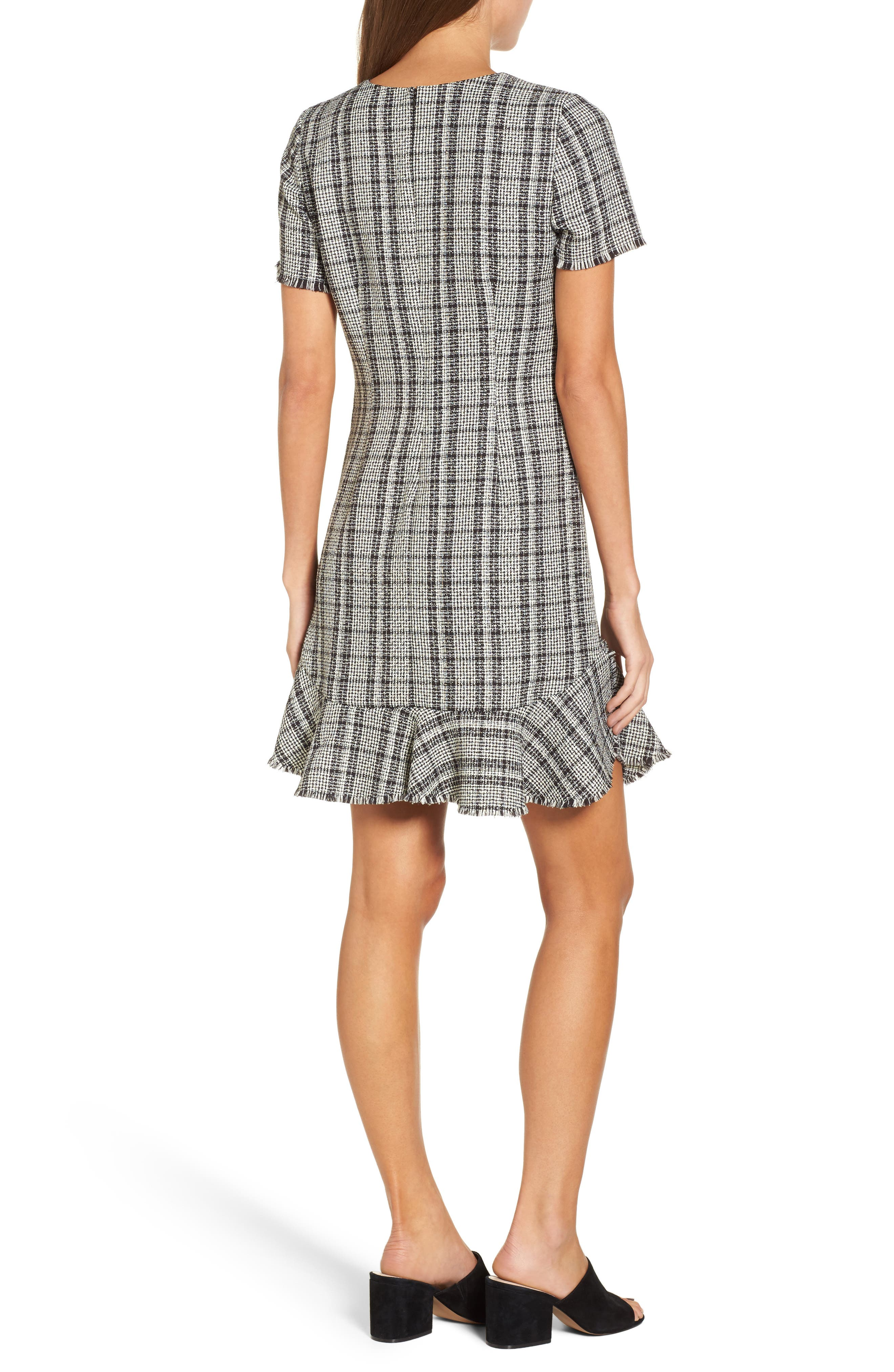 Tweed Ruffle Shift Dress,                             Alternate thumbnail 2, color,                             Black Ivory Combo