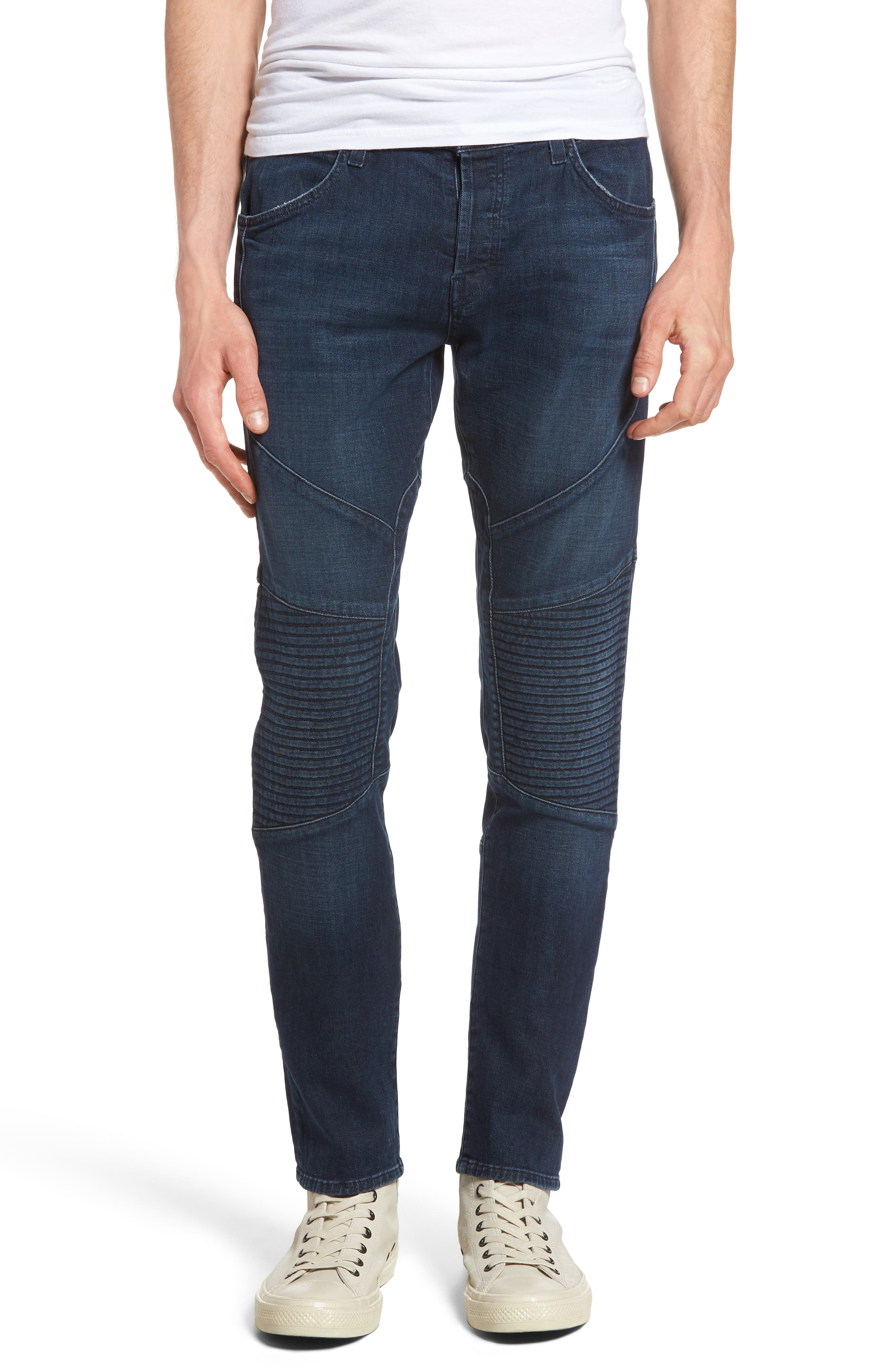 J Brand Bearden Moto Skinny Fit Jeans (Bluvalis)