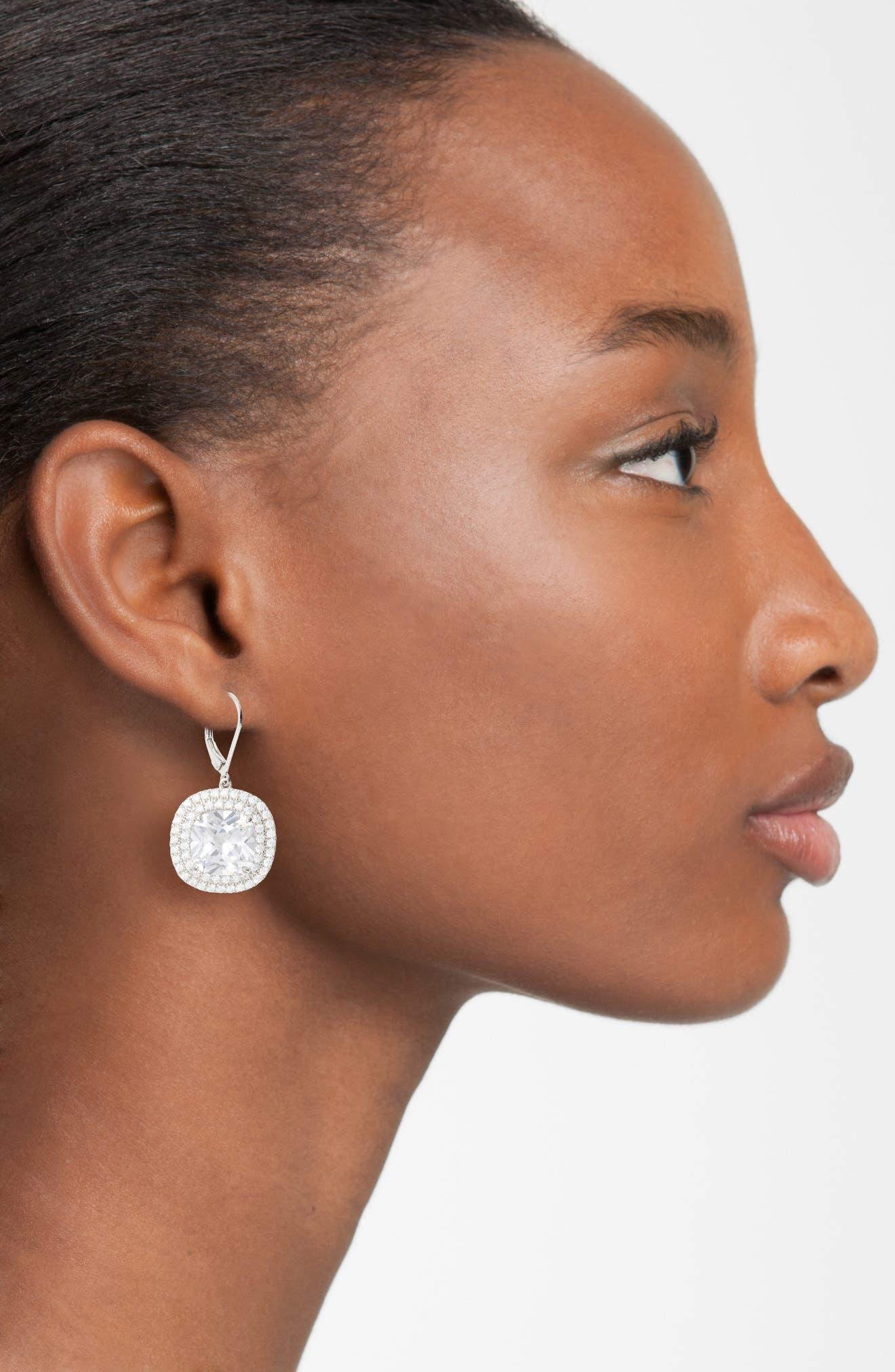 Alternate Image 2  - Nina Cushion Cut Drop Earrings