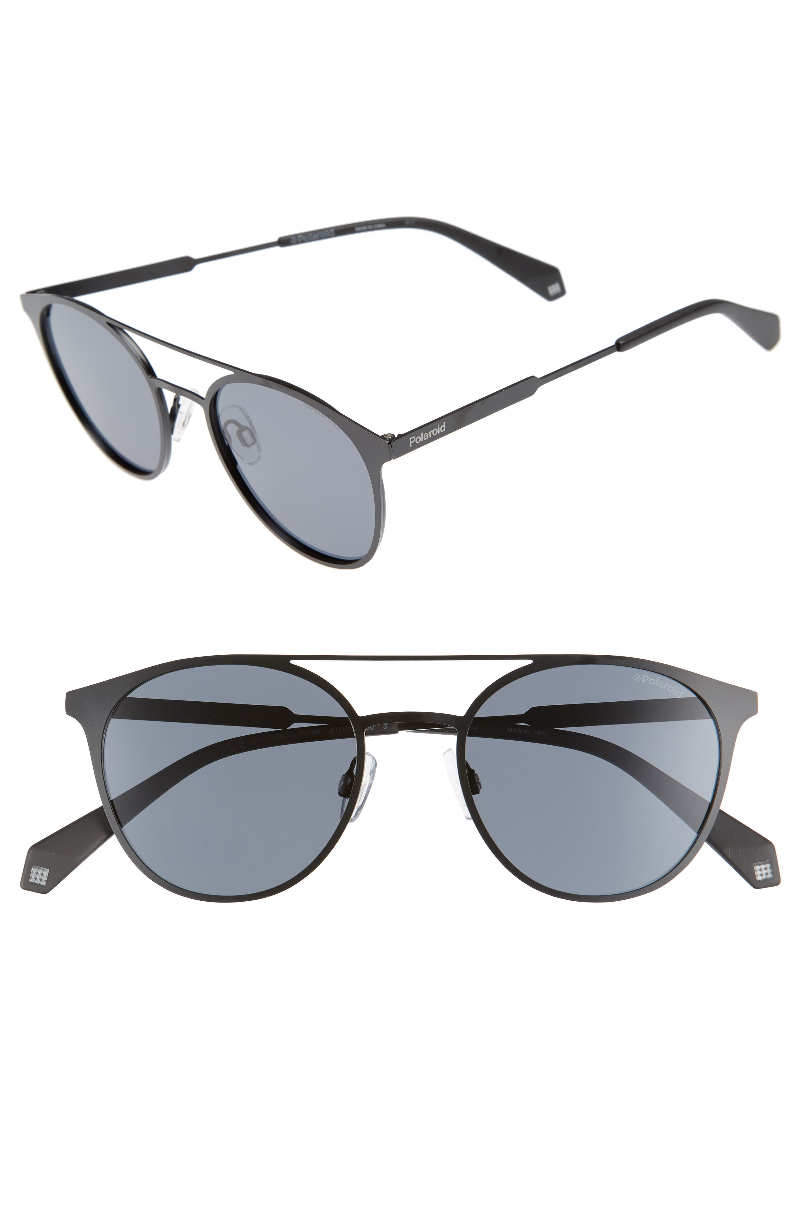 51mm Polarized Round Stainless Steel Sunglasses,                         Main,                         color, Black