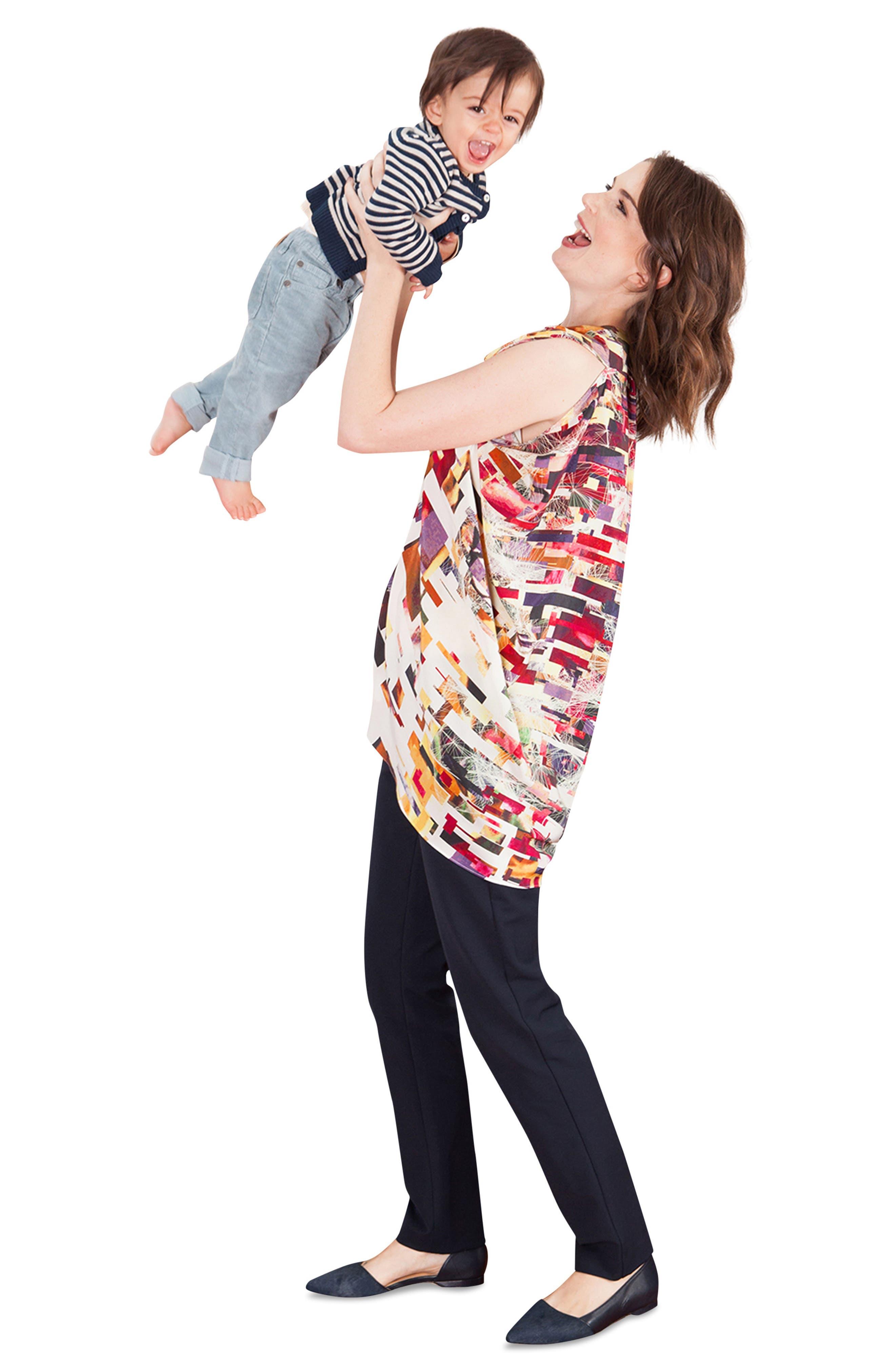 Alternate Image 2  - Kinwolfe Crêpe de Chine Maternity/Nursing Tunic
