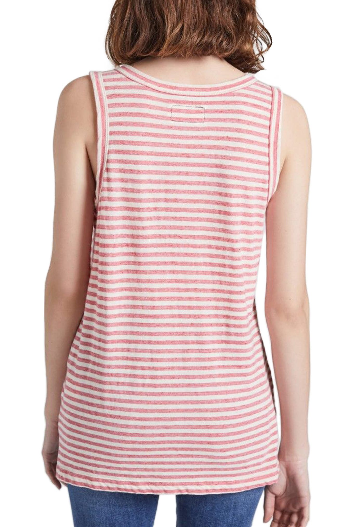 The Muscle Tee Stripe Tank,                             Alternate thumbnail 2, color,                             Red Anchor Stripe