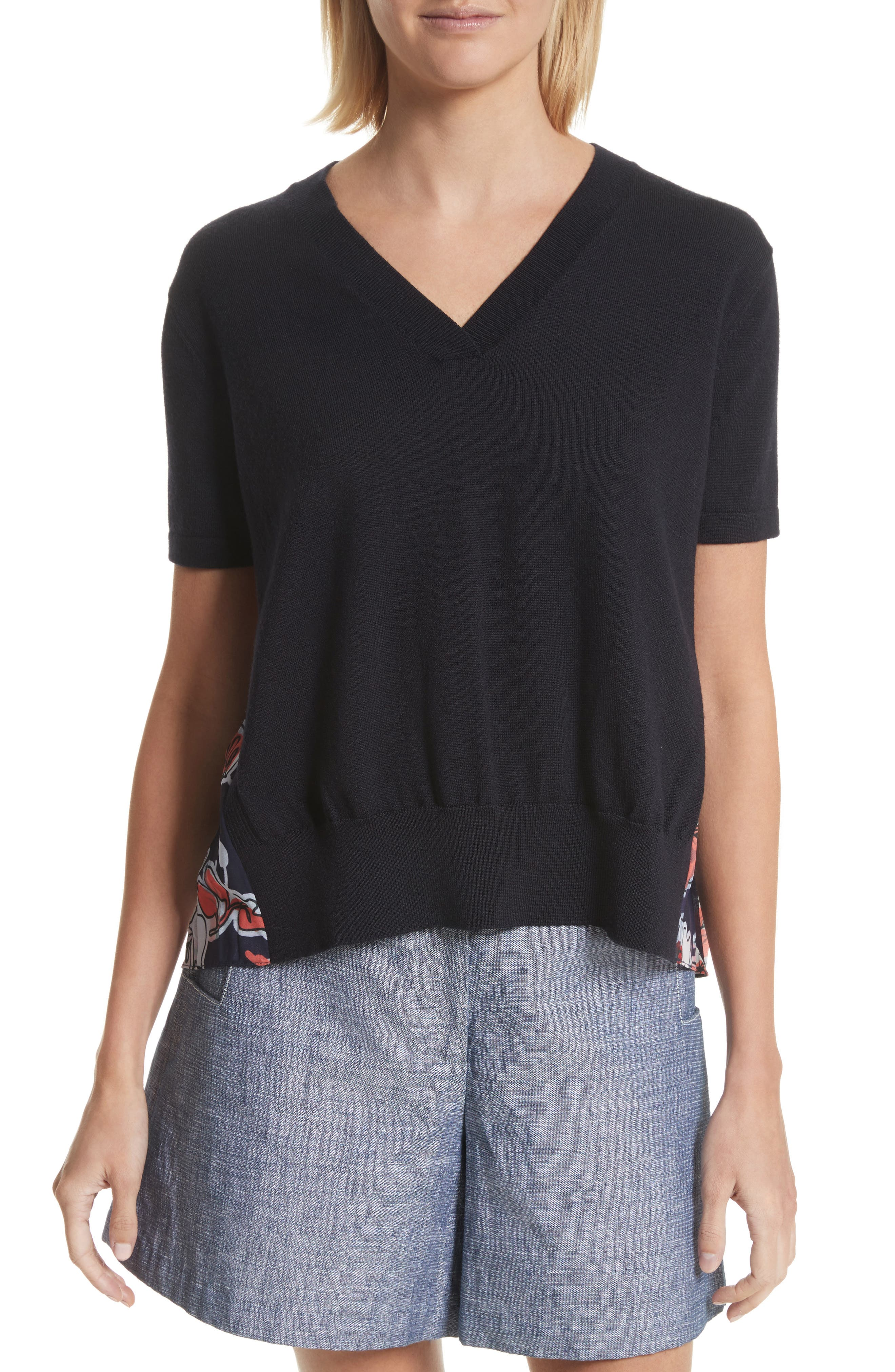 Pleated Back Combo Sweater,                             Main thumbnail 1, color,                             Midnight Multi
