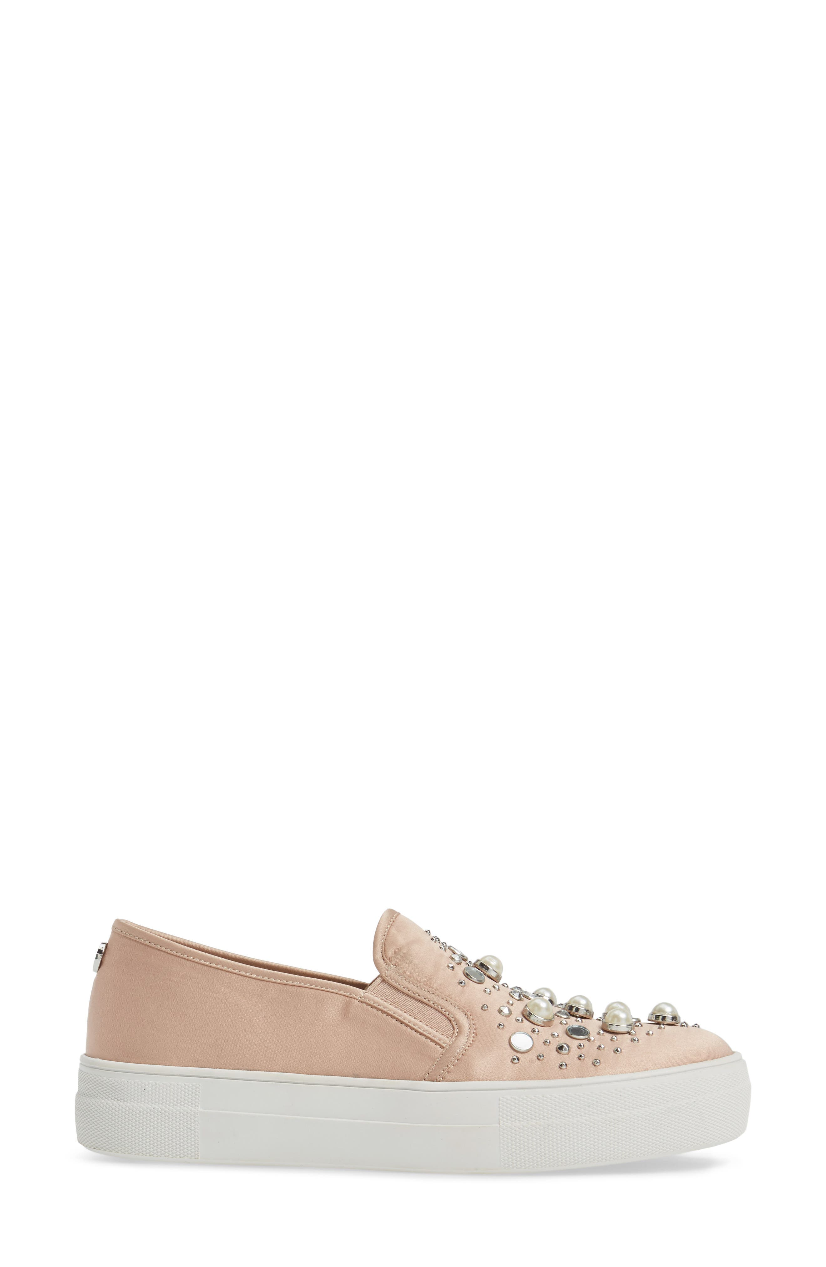 Glade Embellished Slip-On Sneaker,                             Alternate thumbnail 3, color,                             Blush Satin