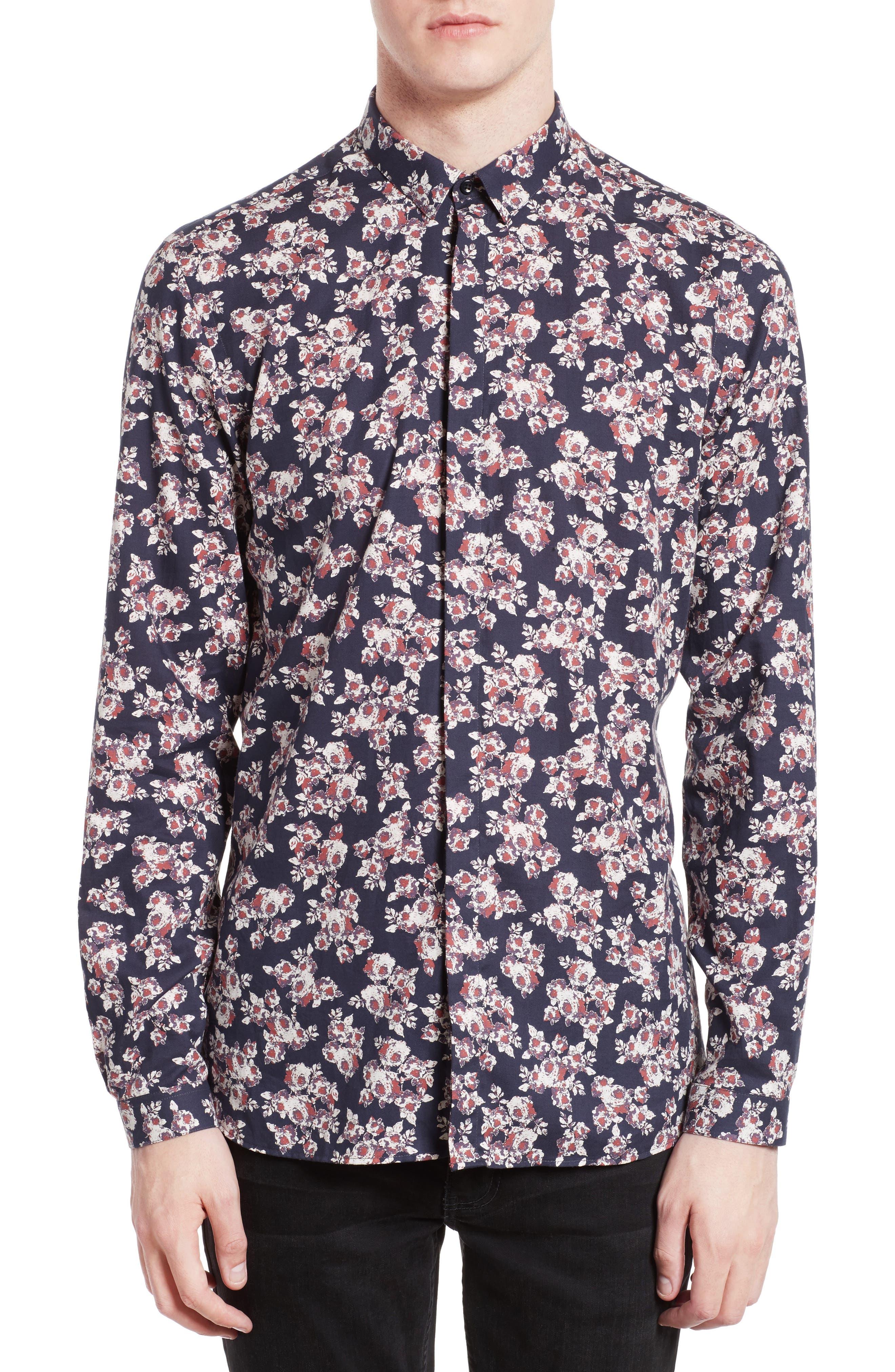 Floral Print Sport Shirt,                             Main thumbnail 1, color,                             Navy