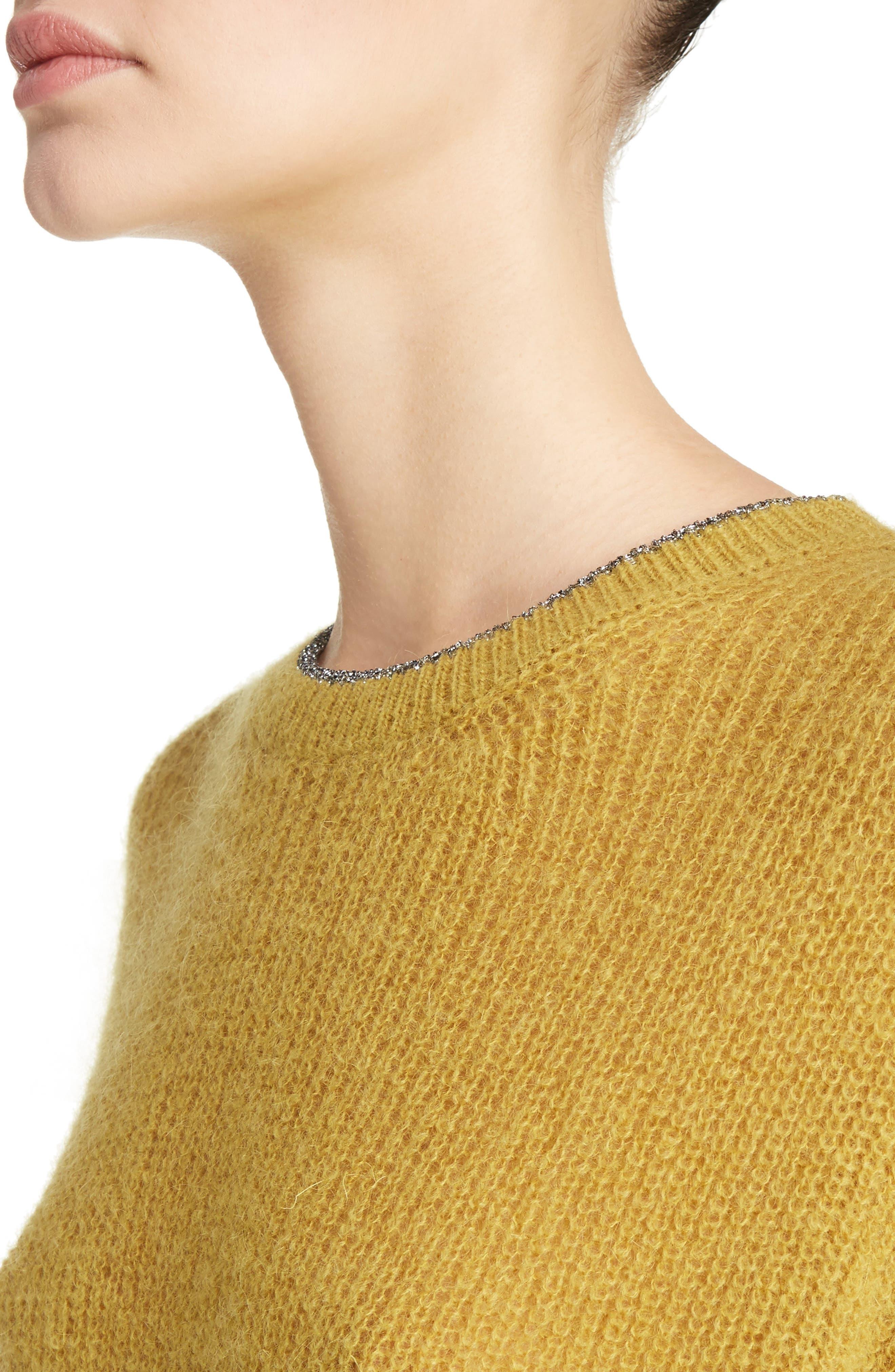 Crewneck Sweater,                             Alternate thumbnail 4, color,                             Honey/Silver