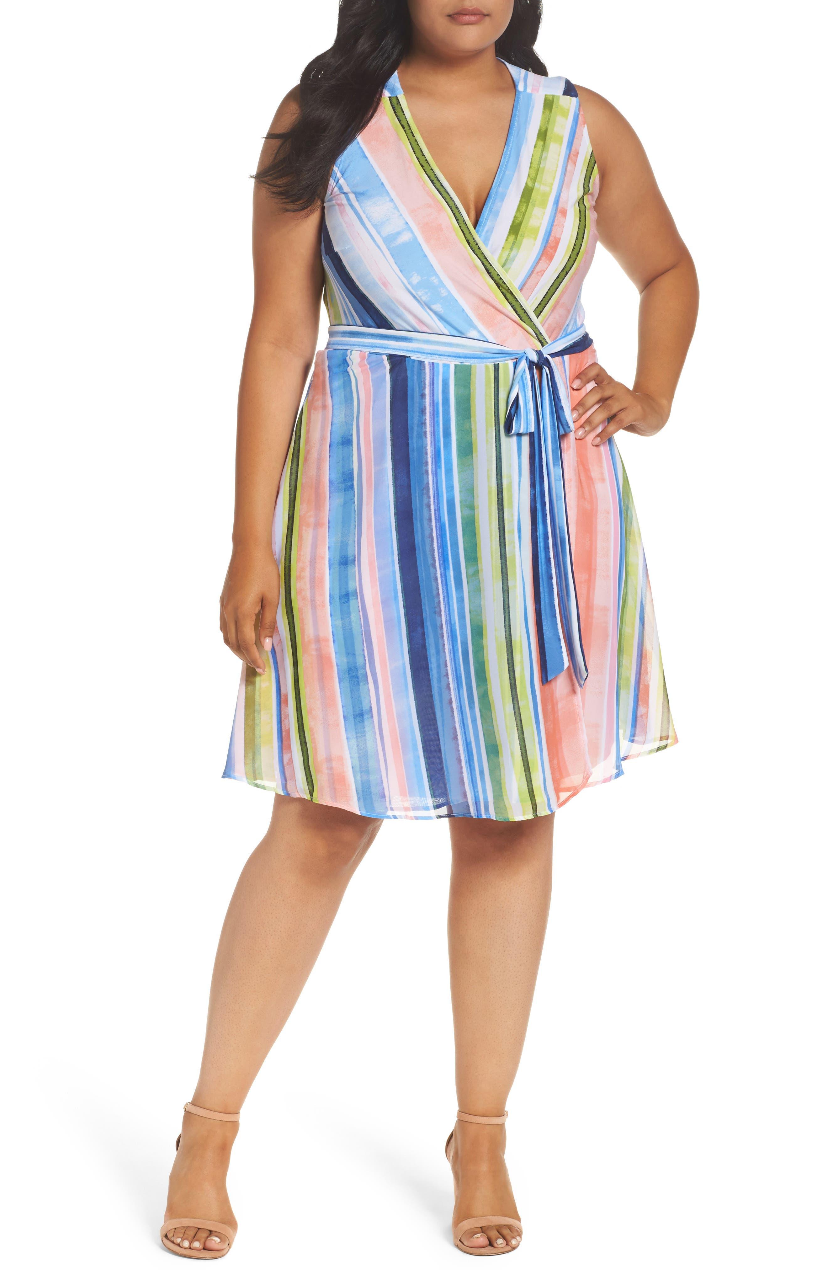 Main Image - ECI Stripe Faux Wrap Dress (Plus Size)