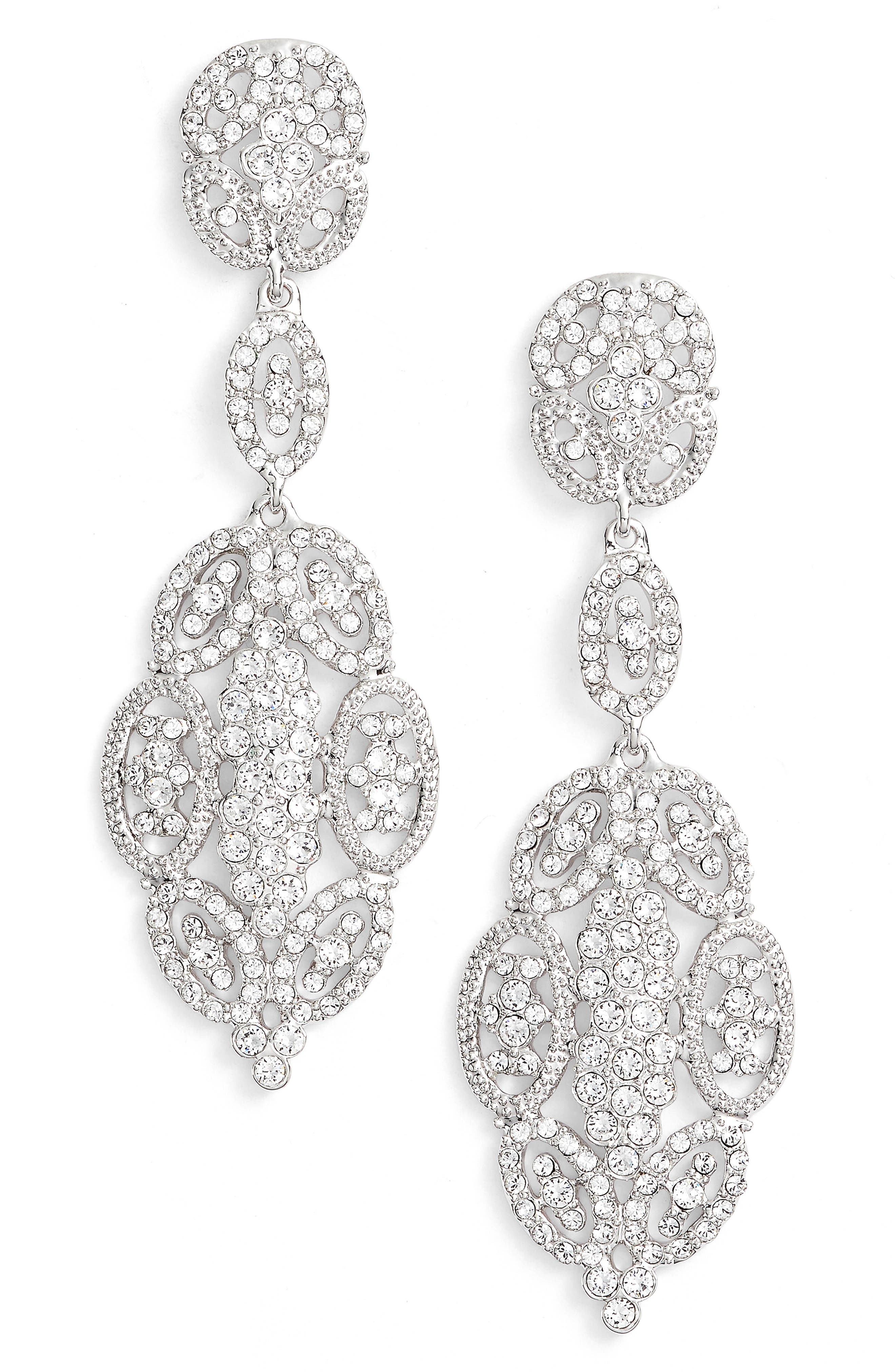 'Glamorous' Crystal Drop Earrings,                             Main thumbnail 1, color,                             Silver