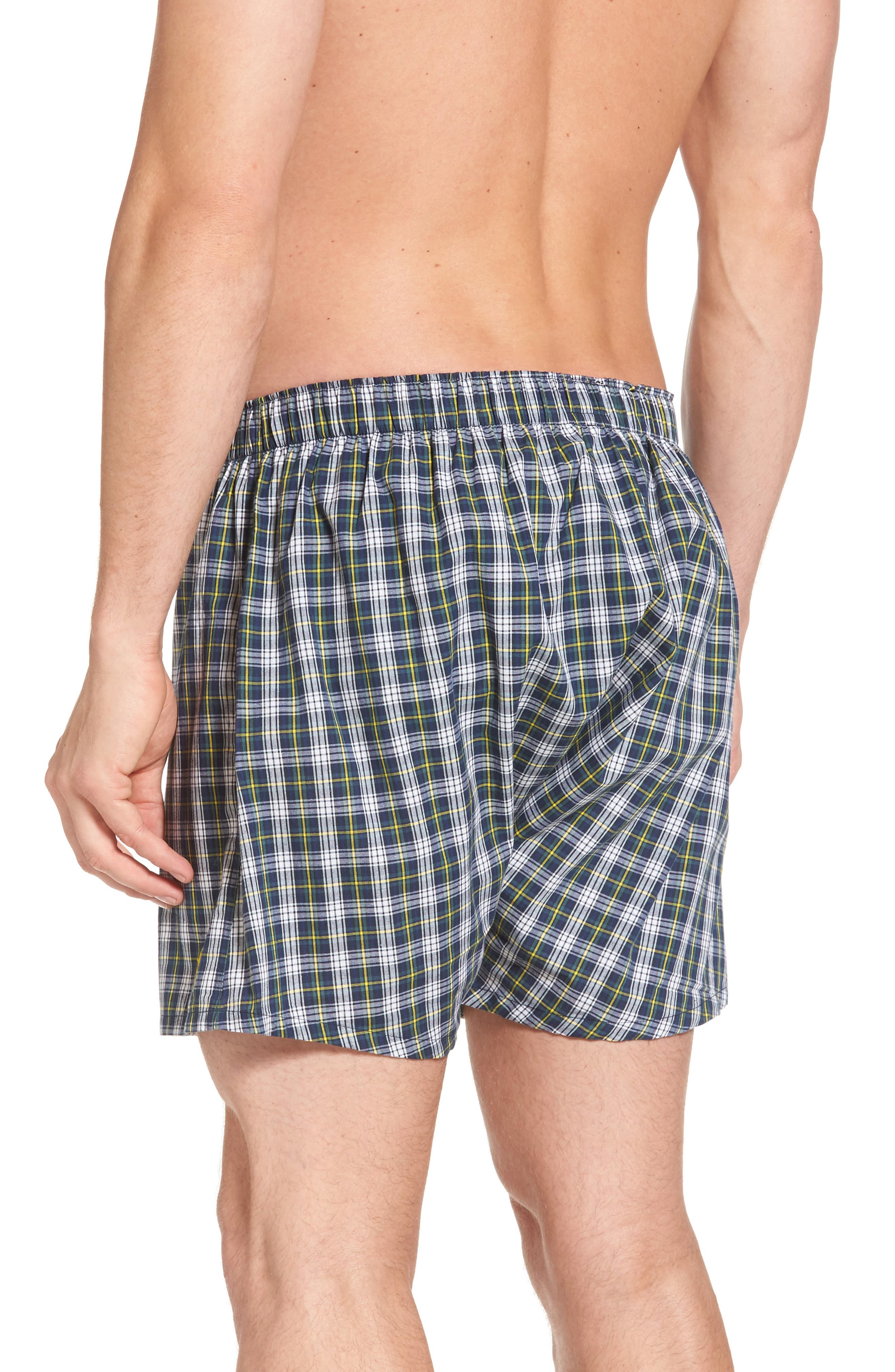 Assorted 3-Pack Woven Cotton Boxers,                             Alternate thumbnail 3, color,                             Blue/ Green Plaid/ Navy Plaid